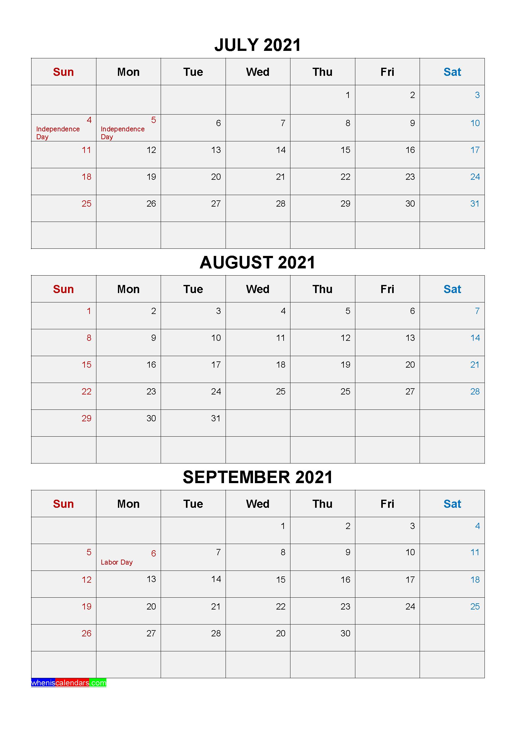 Free Printable July August September 2021 Calendar 3 ...