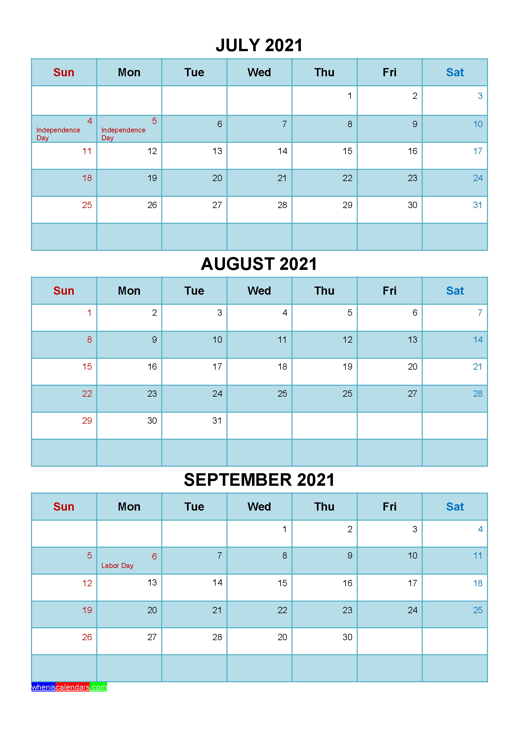 Printable July August September 2021 Calendar Template ...