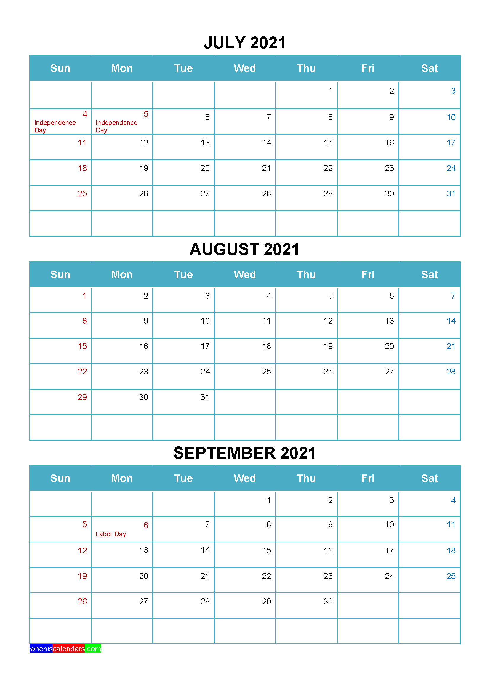 Printable July August September 2021 Calendar with Holidays