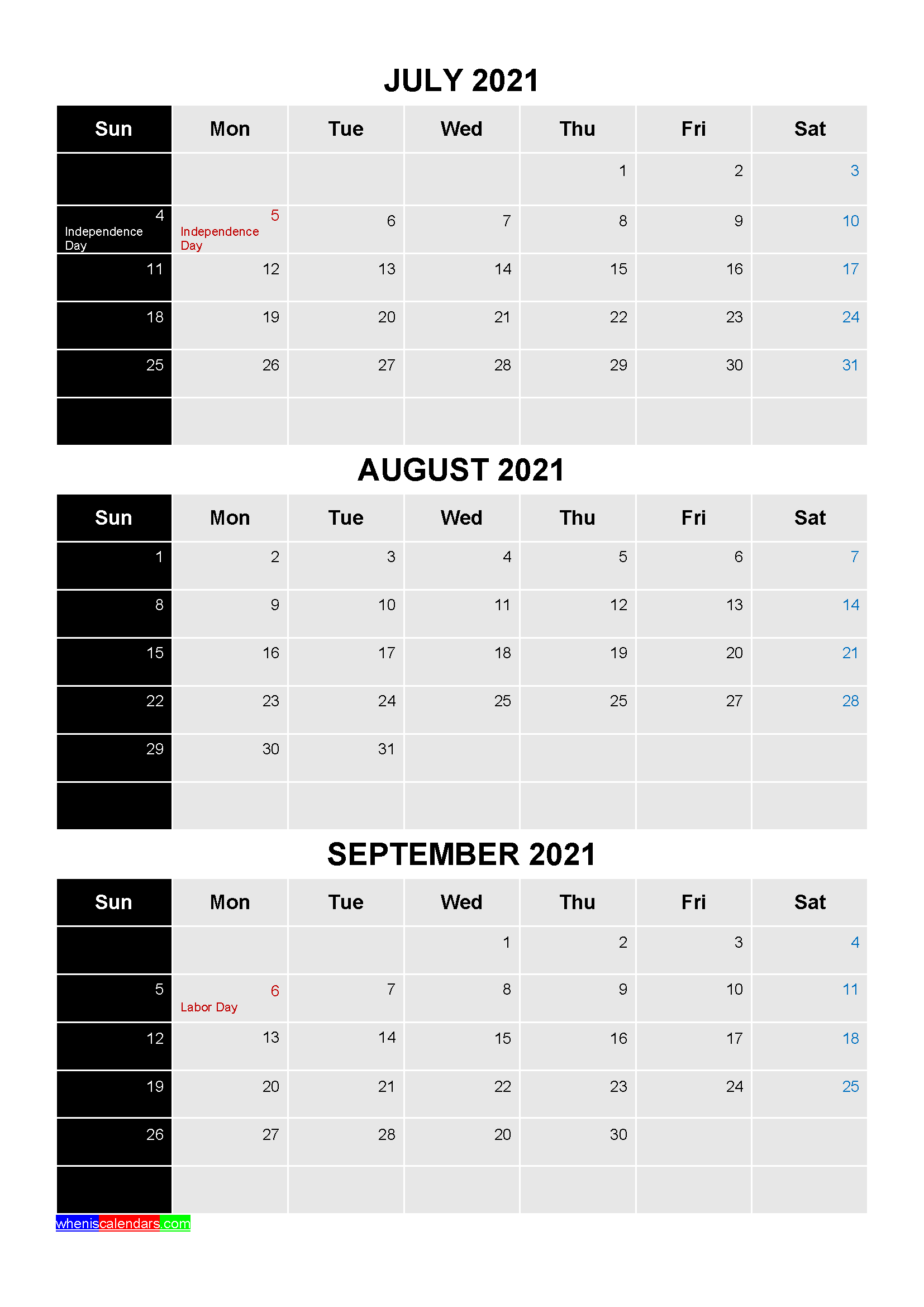 July August September 2021 Calendar with Holidays