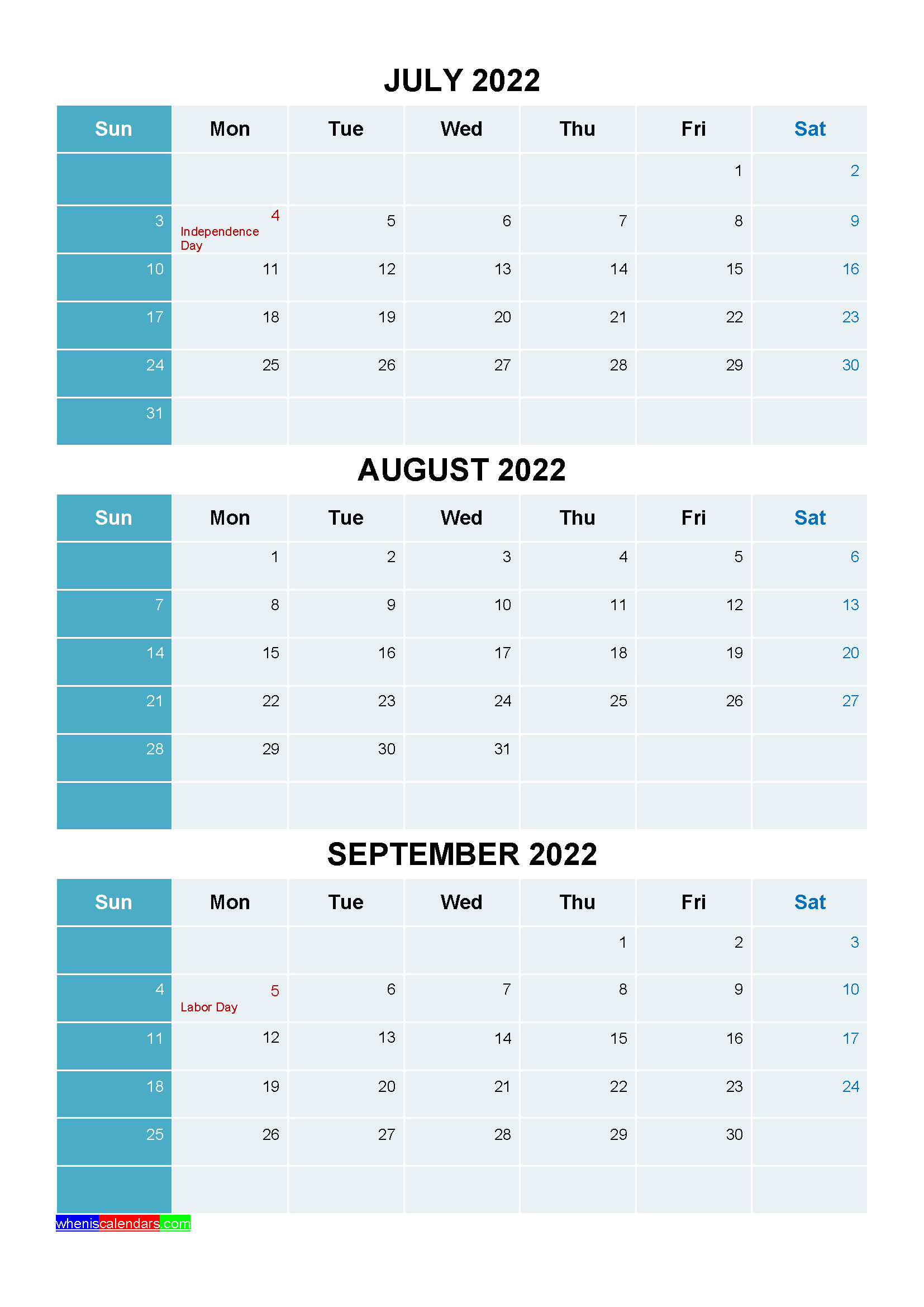 July August September 2022 Calendar with Holidays Printable