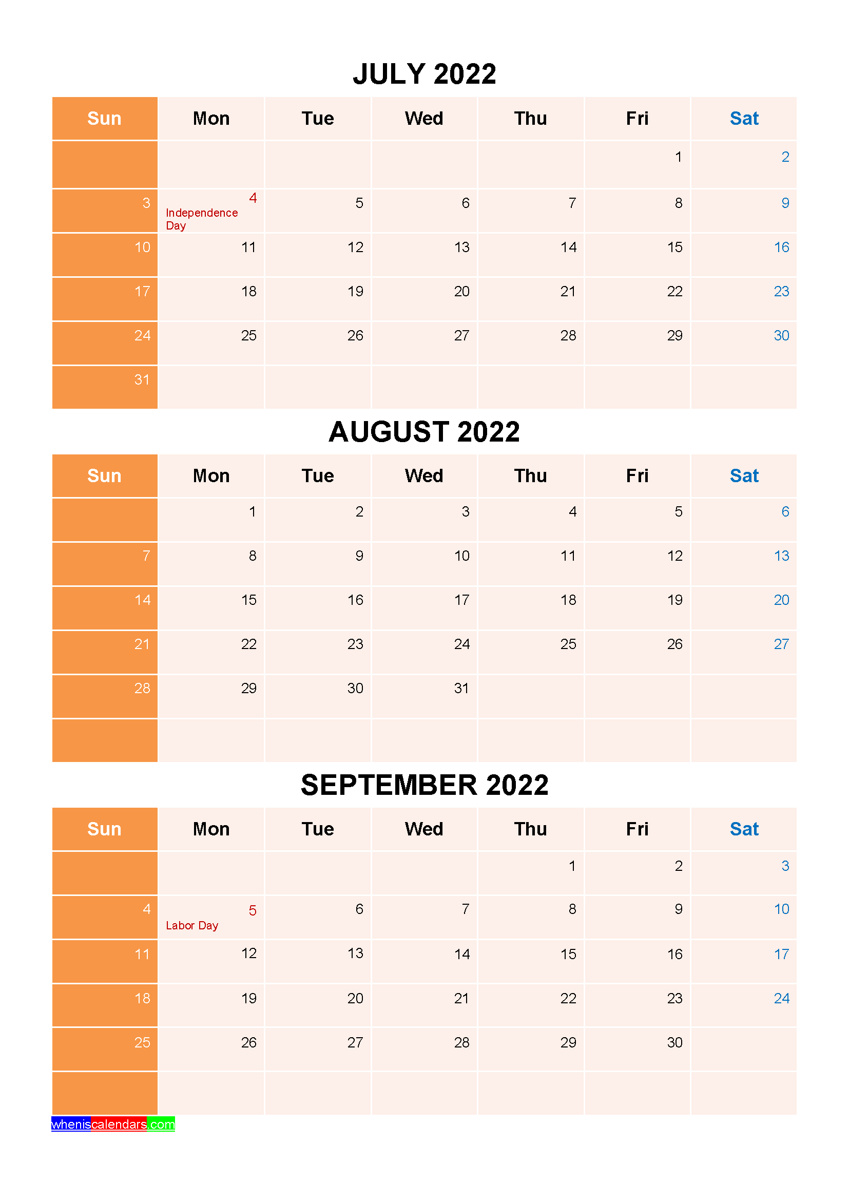 July August September 2022 Calendar with Holidays
