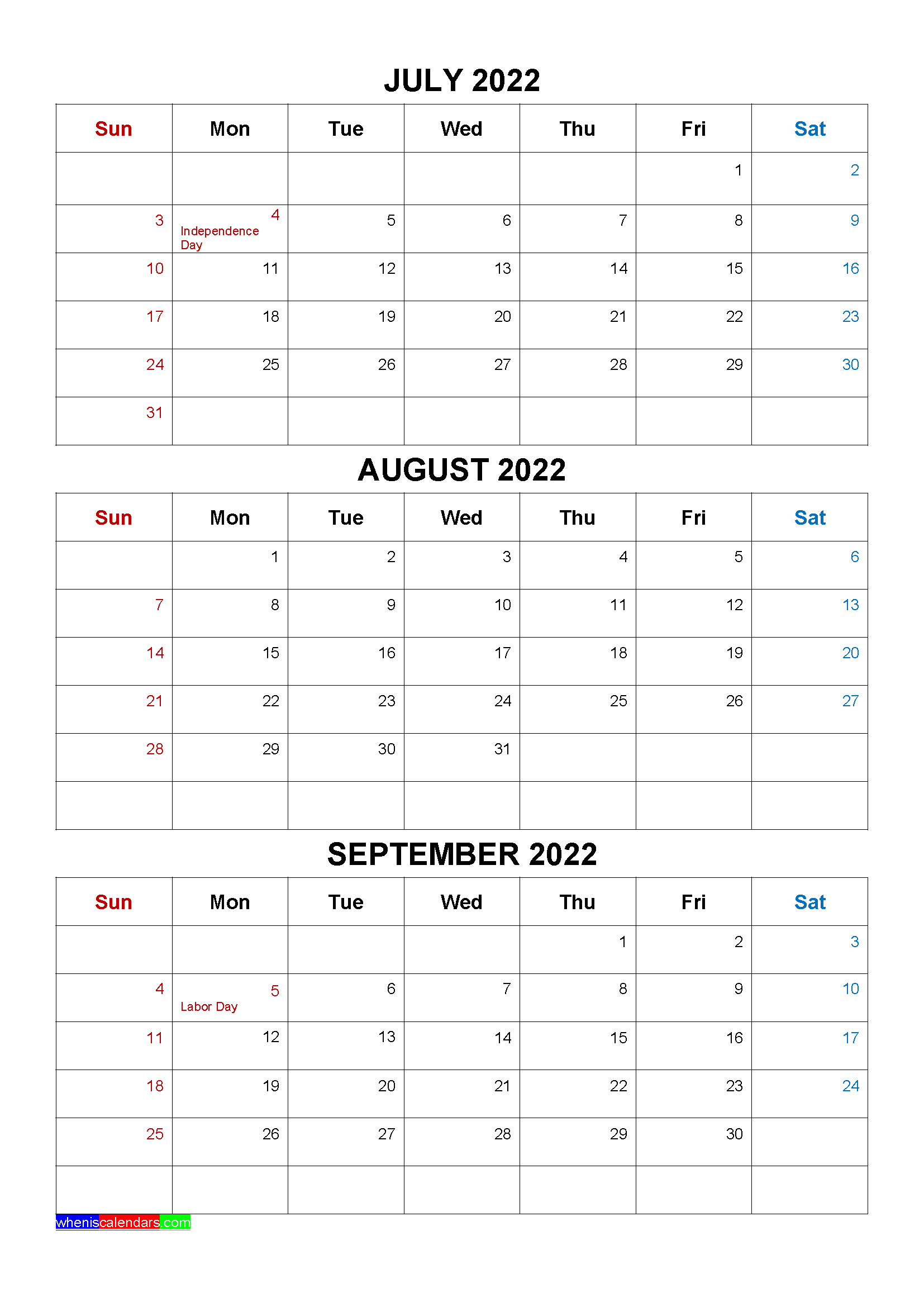 Free July August September 2022 Calendar with Holidays