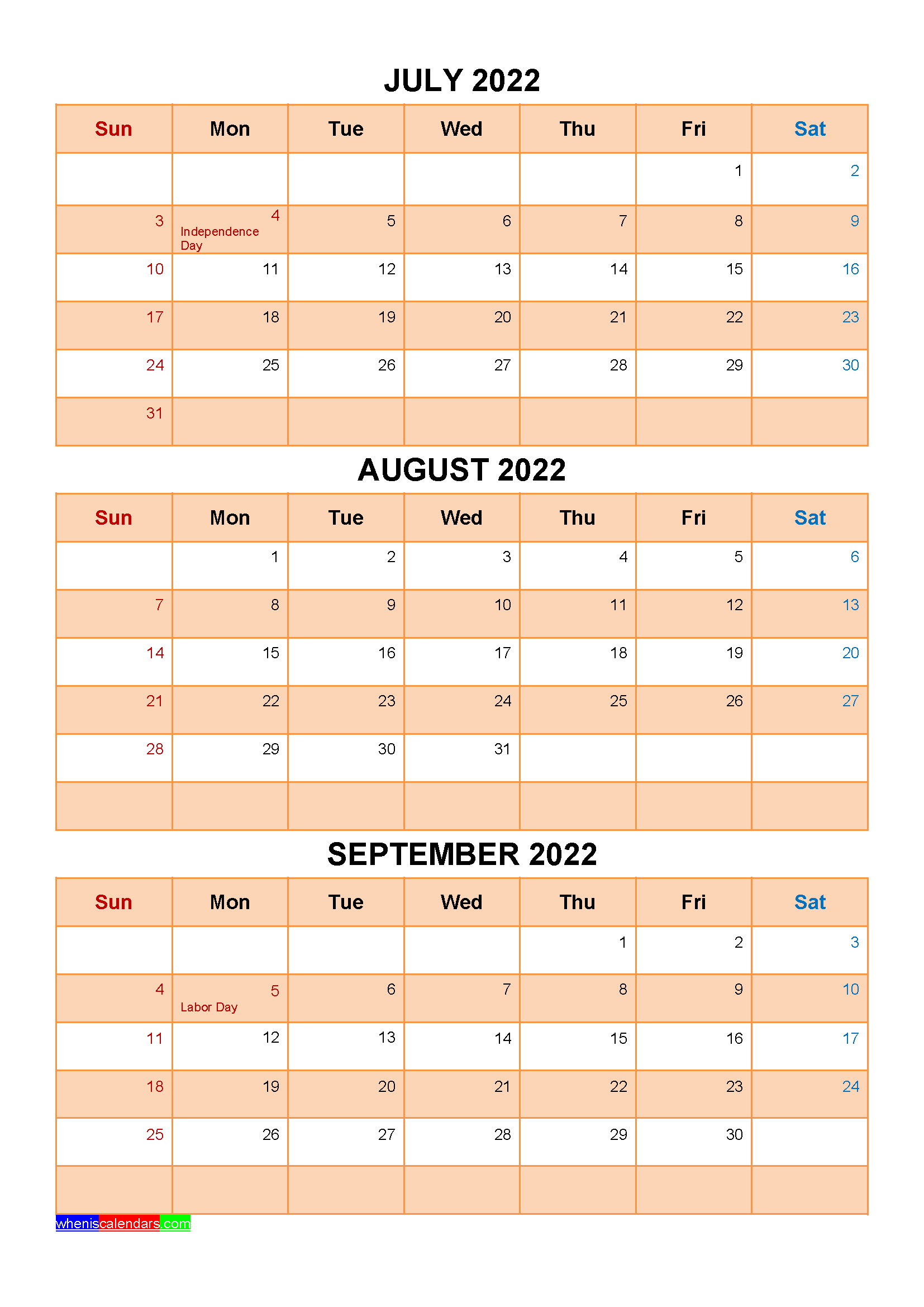 Printable July August September 2022 Calendar with Holidays