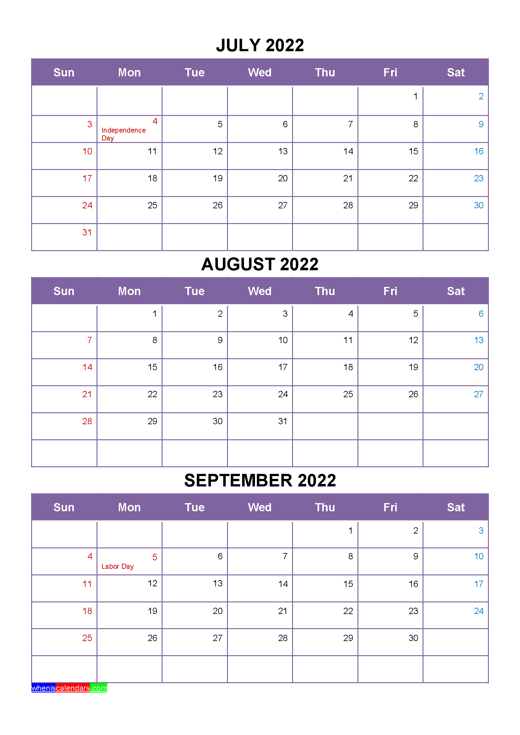 Free Calendar July August September 2022 with Holidays