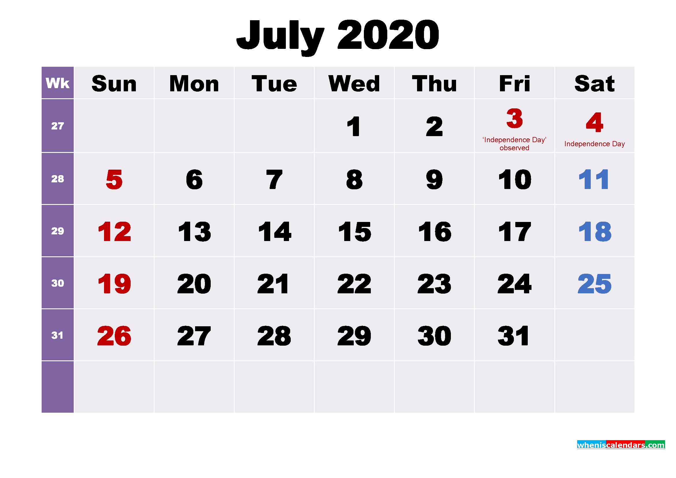 Printable 2020 Calendar by Month July