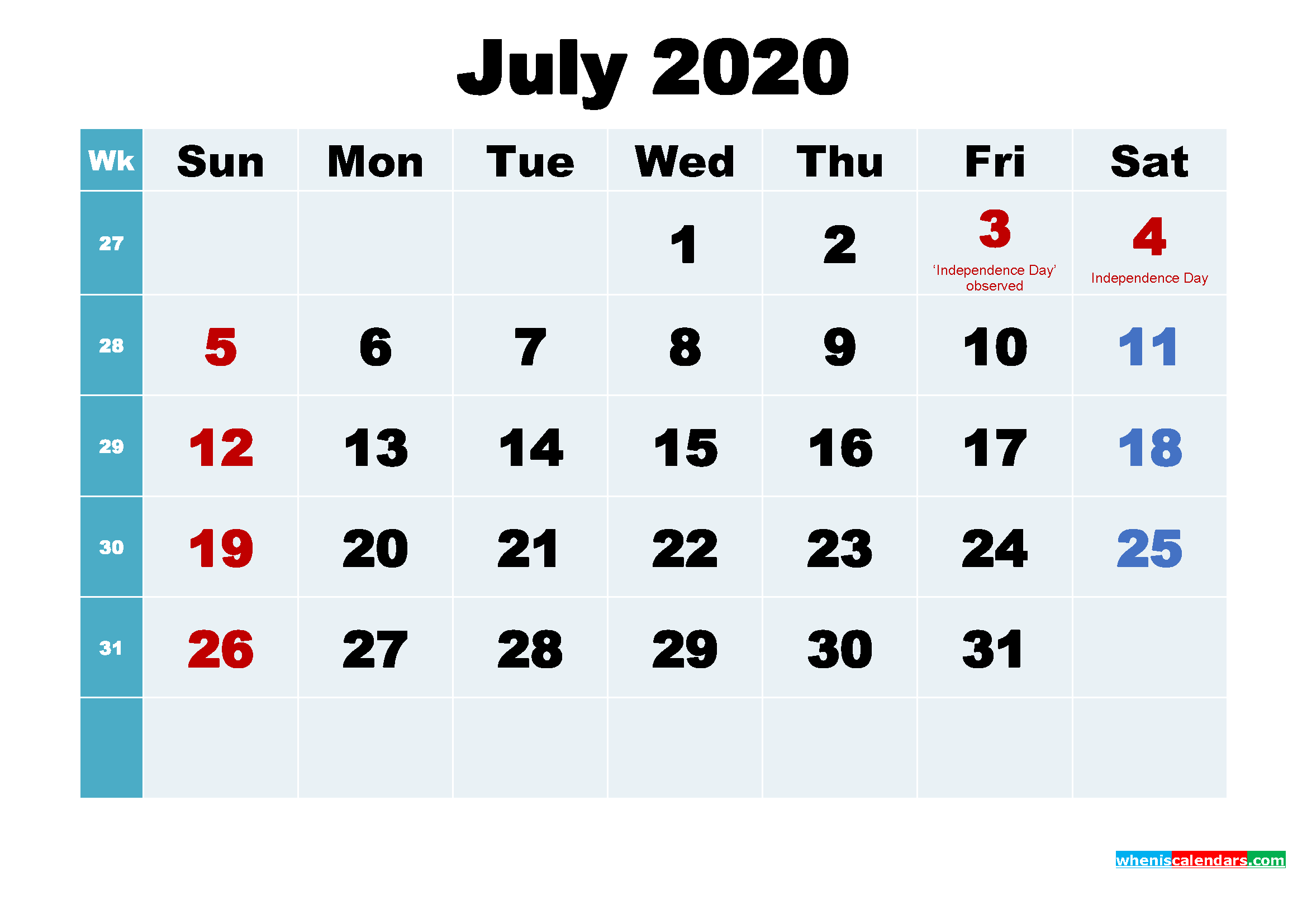 Free Printable July 2020 Calendar Wallpaper