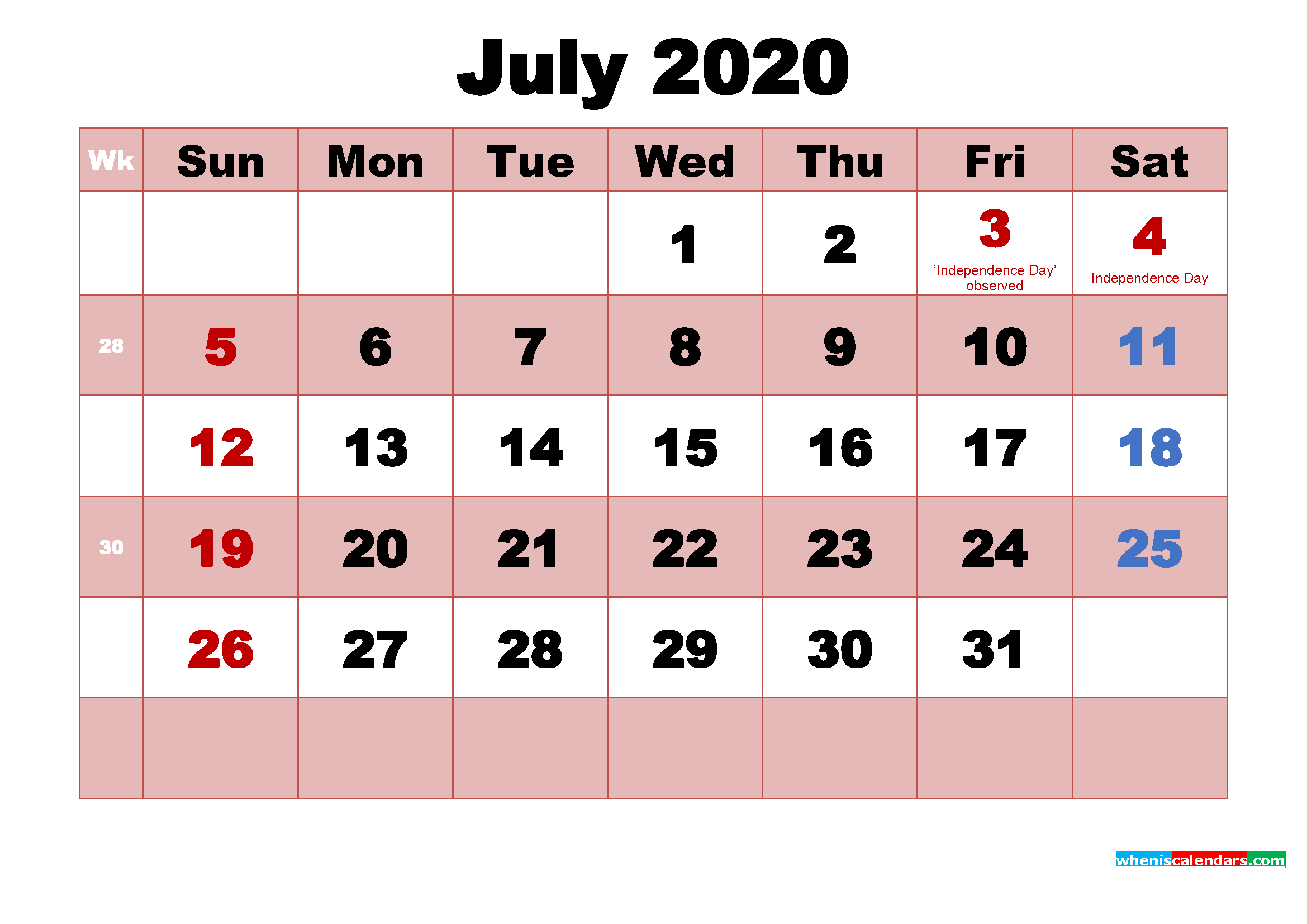 Printable July 2020 Calendar Word