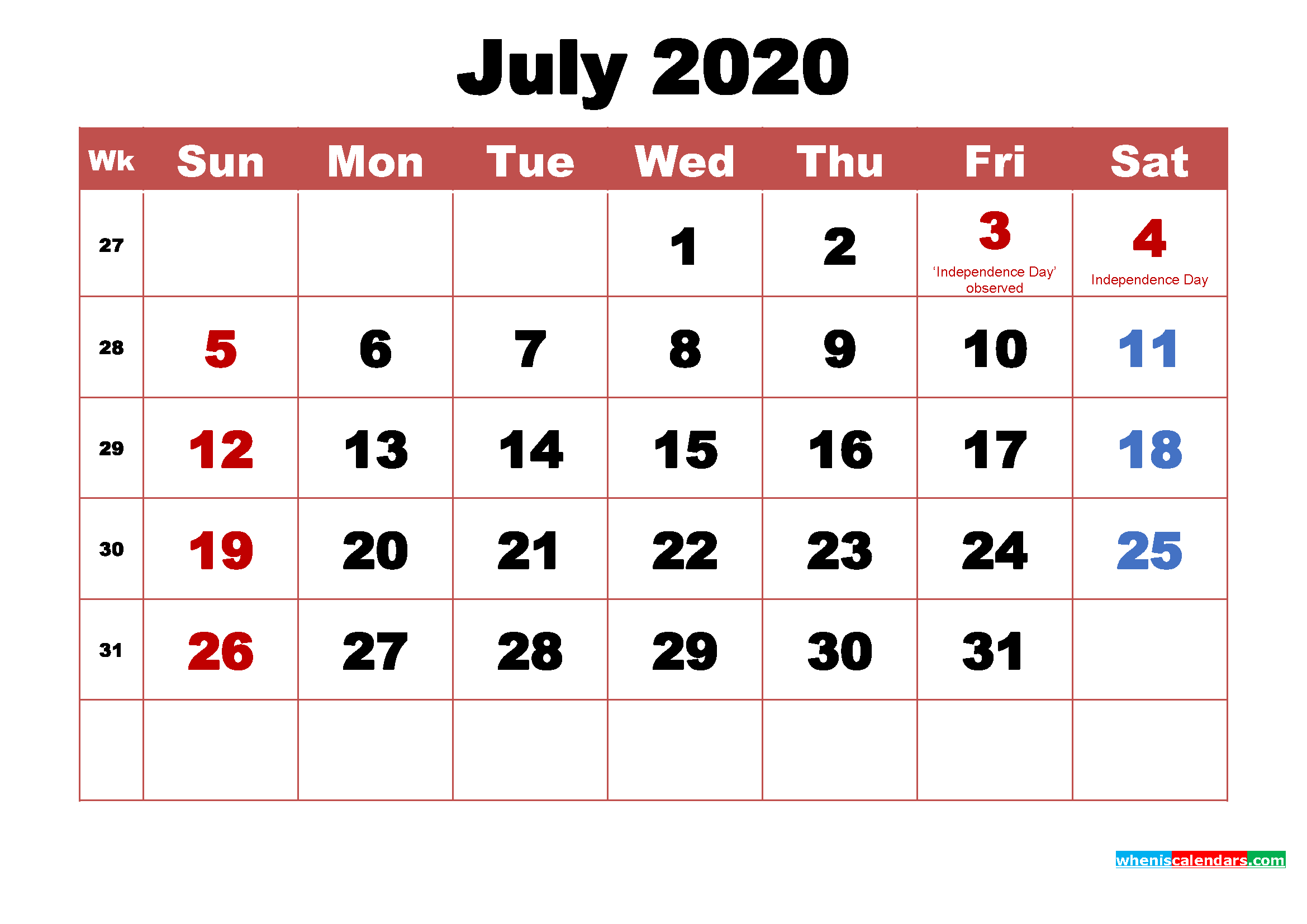 Printable 2020 Calendar with Holidays July