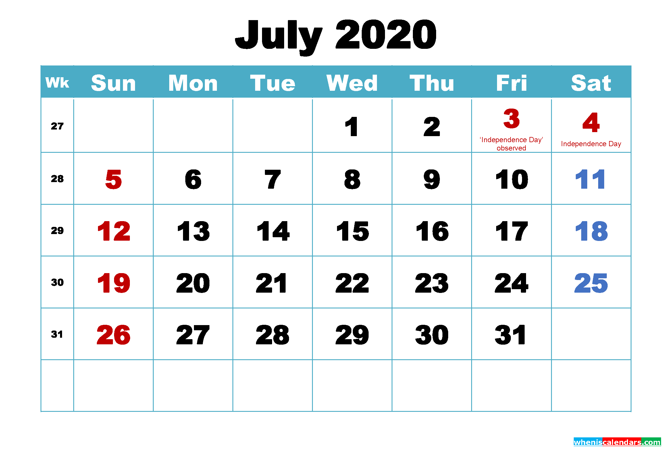 Printable July 2020 Calendar by Month