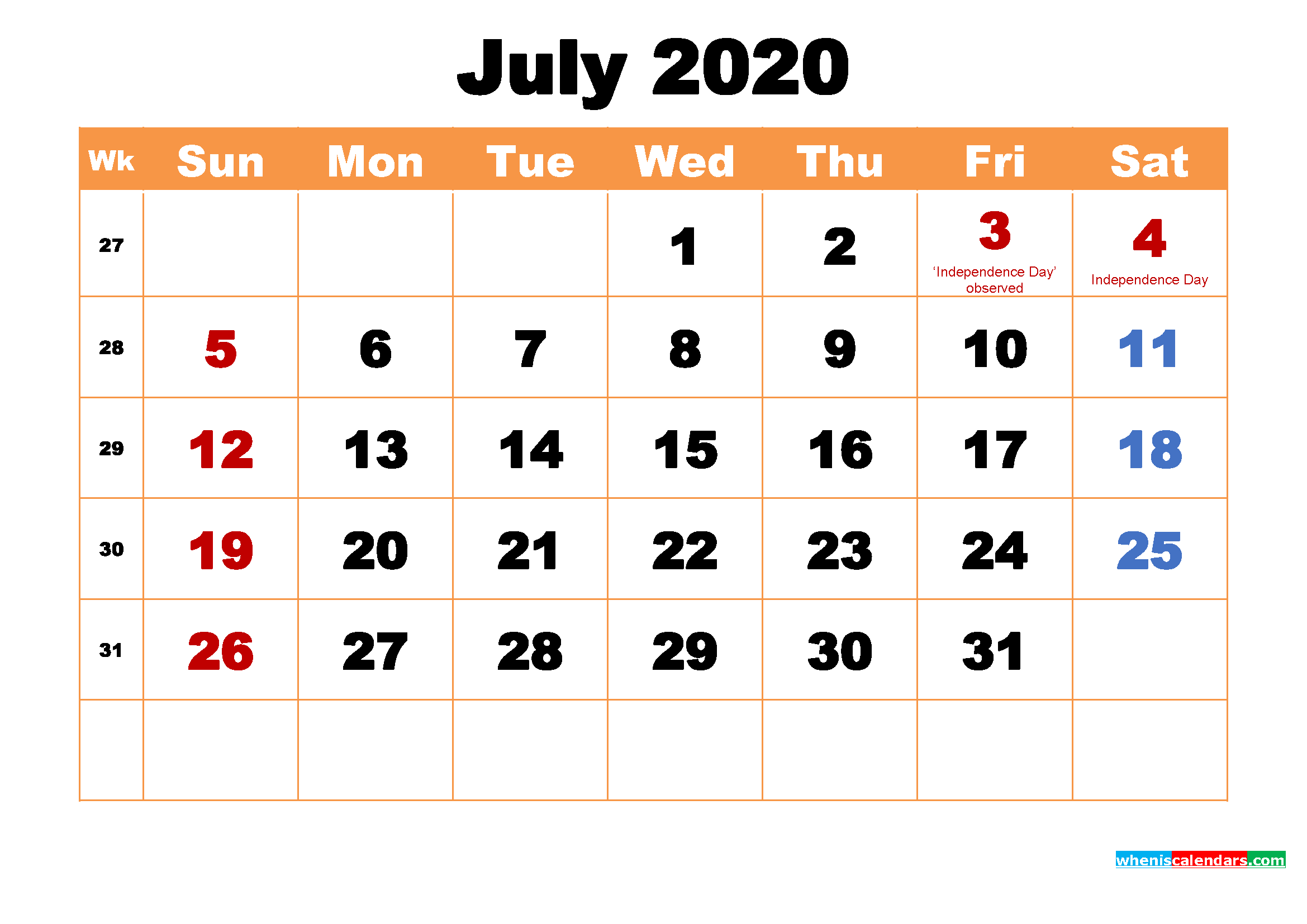 July 2020 Calendar Wallpaper High Resolution