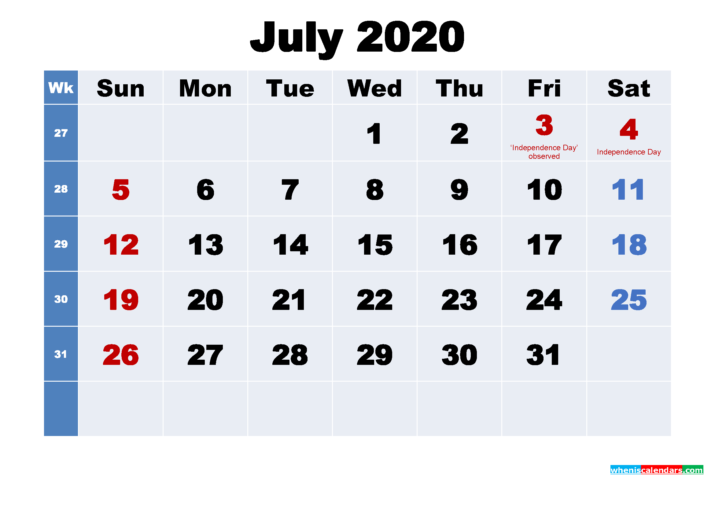 Free Printable 2020 Calendar with Holidays July