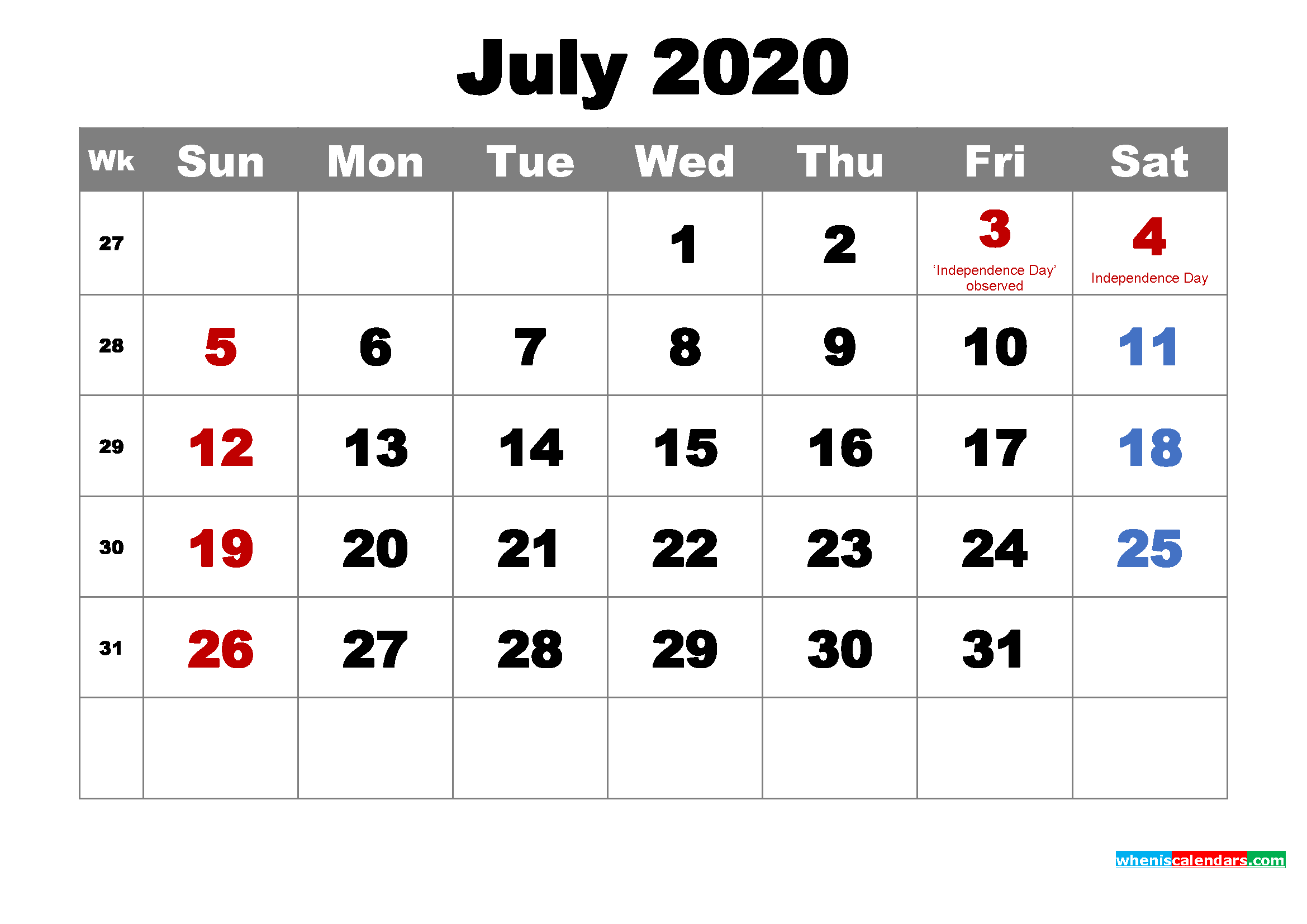 Free Printable July 2020 Calendar Wallpaper