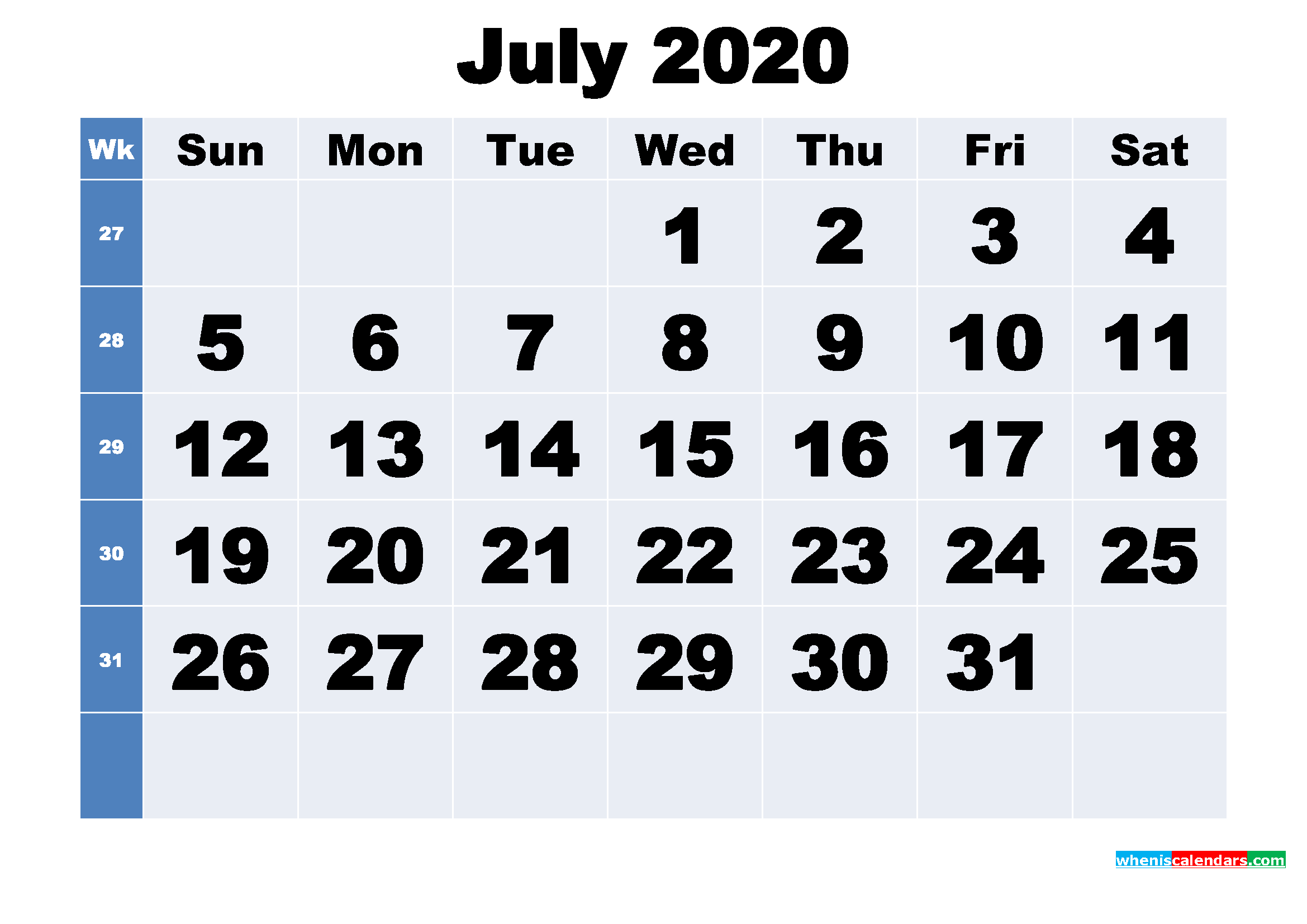 Free Printable July 2020 Calendar Template Word, PDF