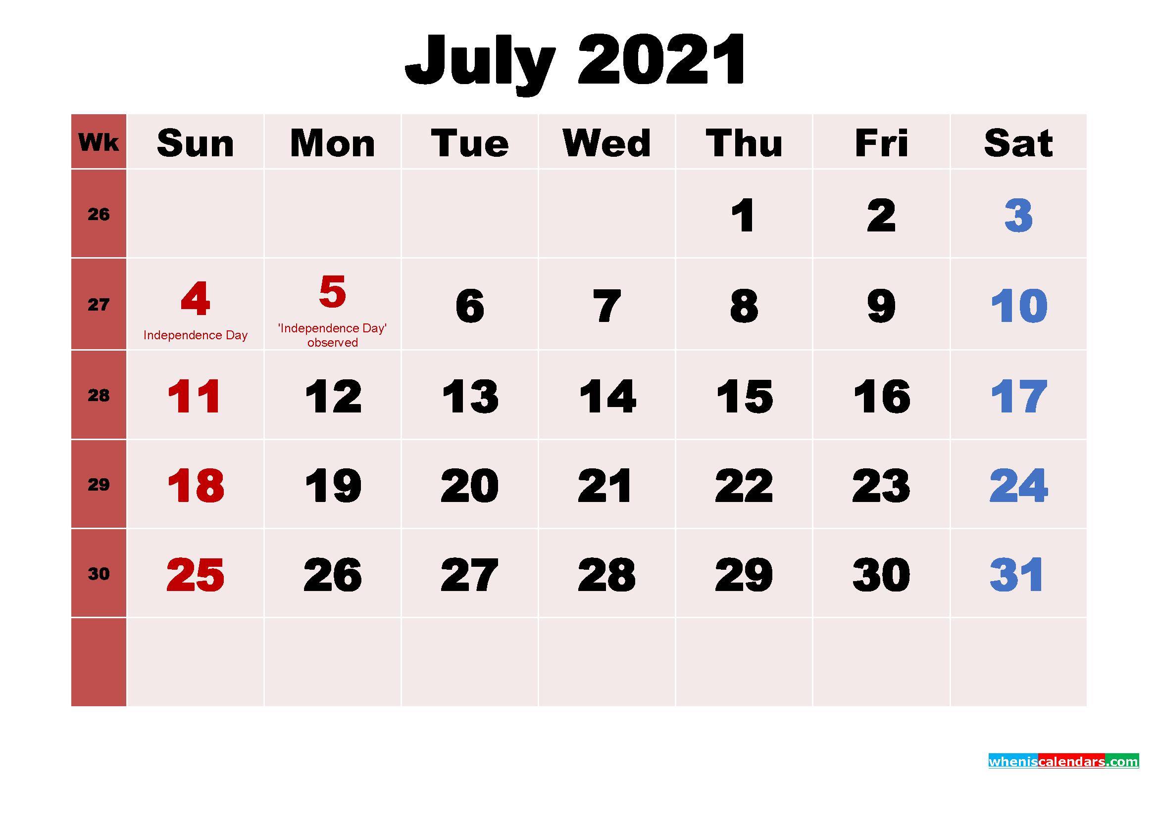 July 2021 Desktop Calendar Monthly