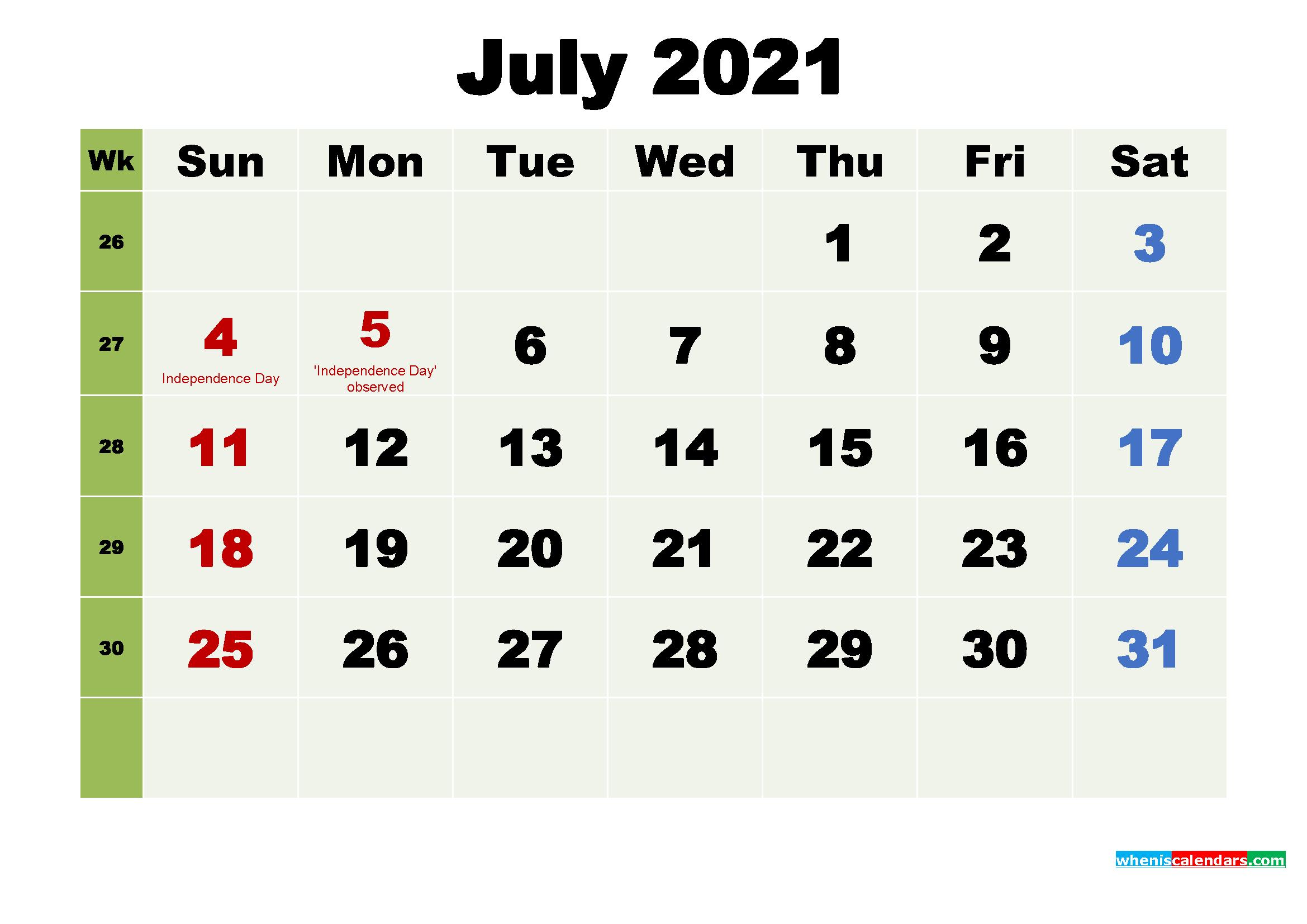 Free July 2021 Desktop Calendar High Resolution