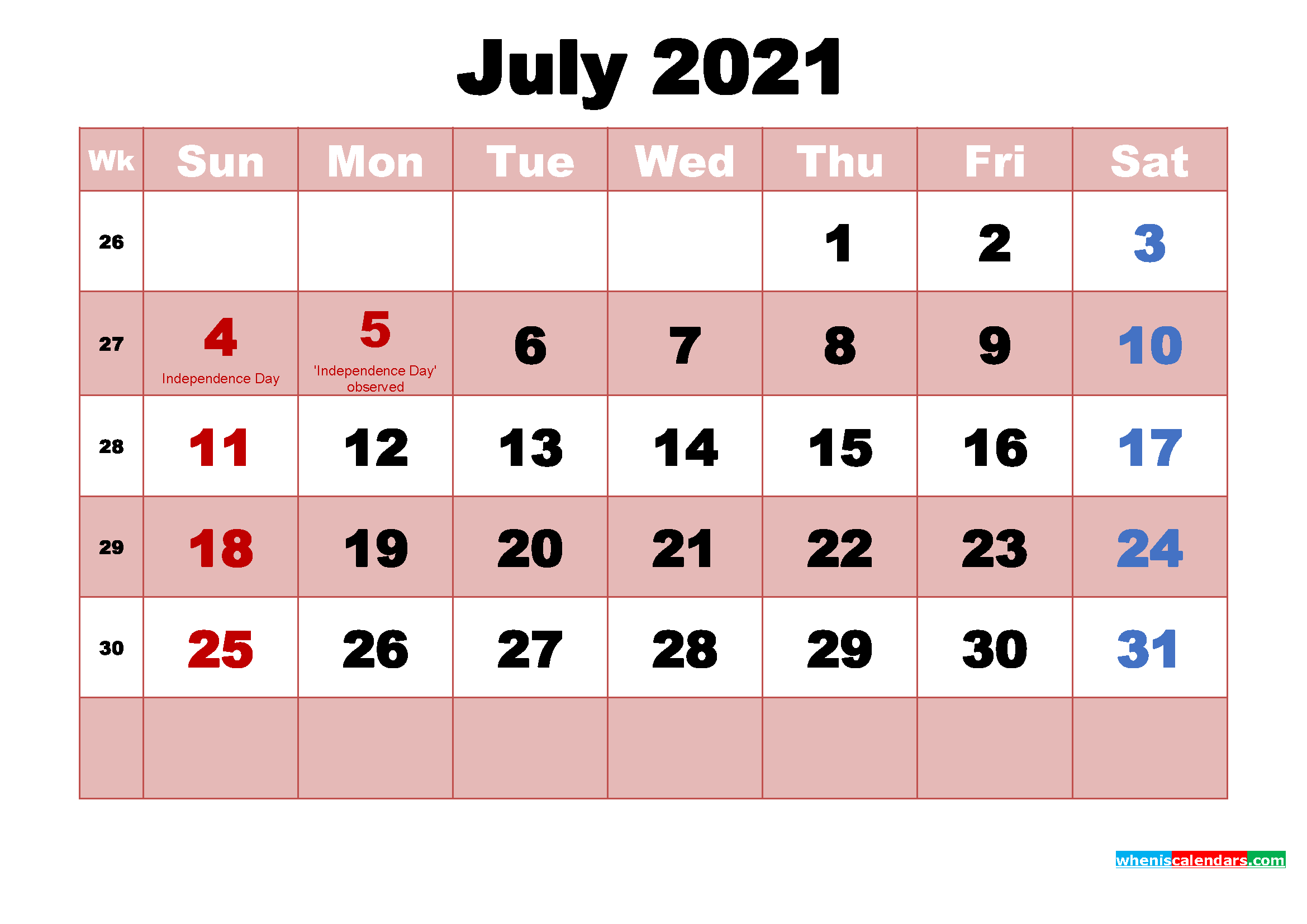 July 2021 Calendar with Holidays Wallpaper