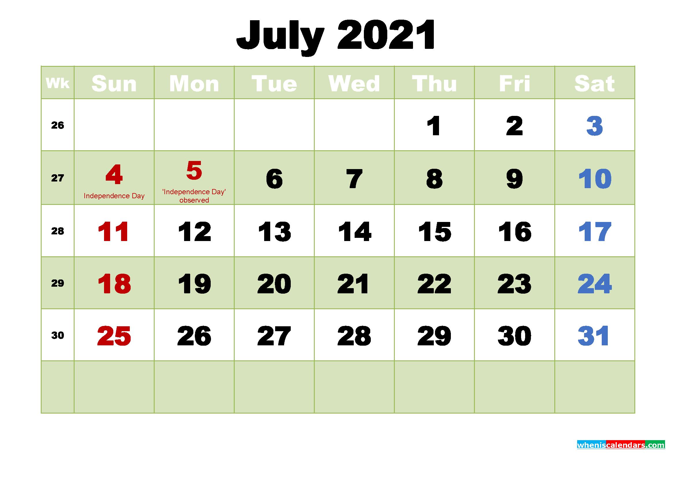 Printable Calendar for July 2021 - Free Printable 2020 ...