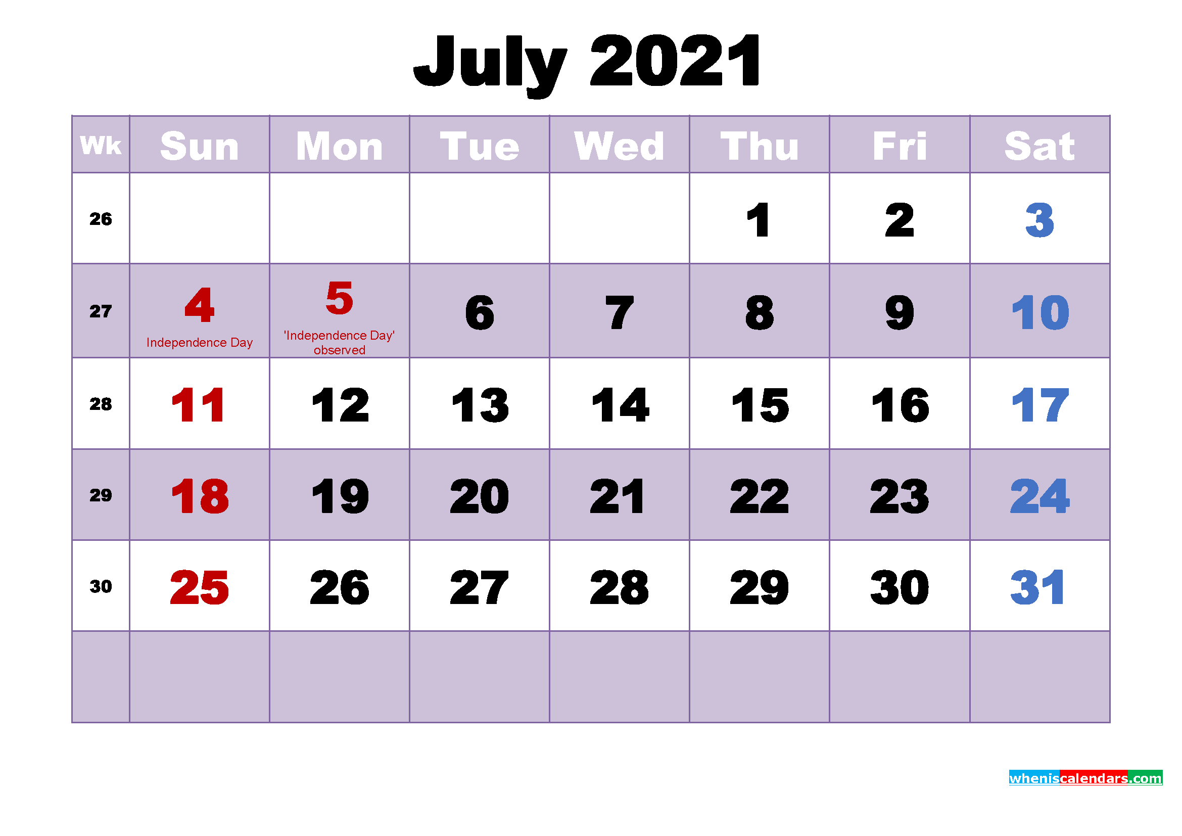 July 2021 Desktop Calendar High Resolution
