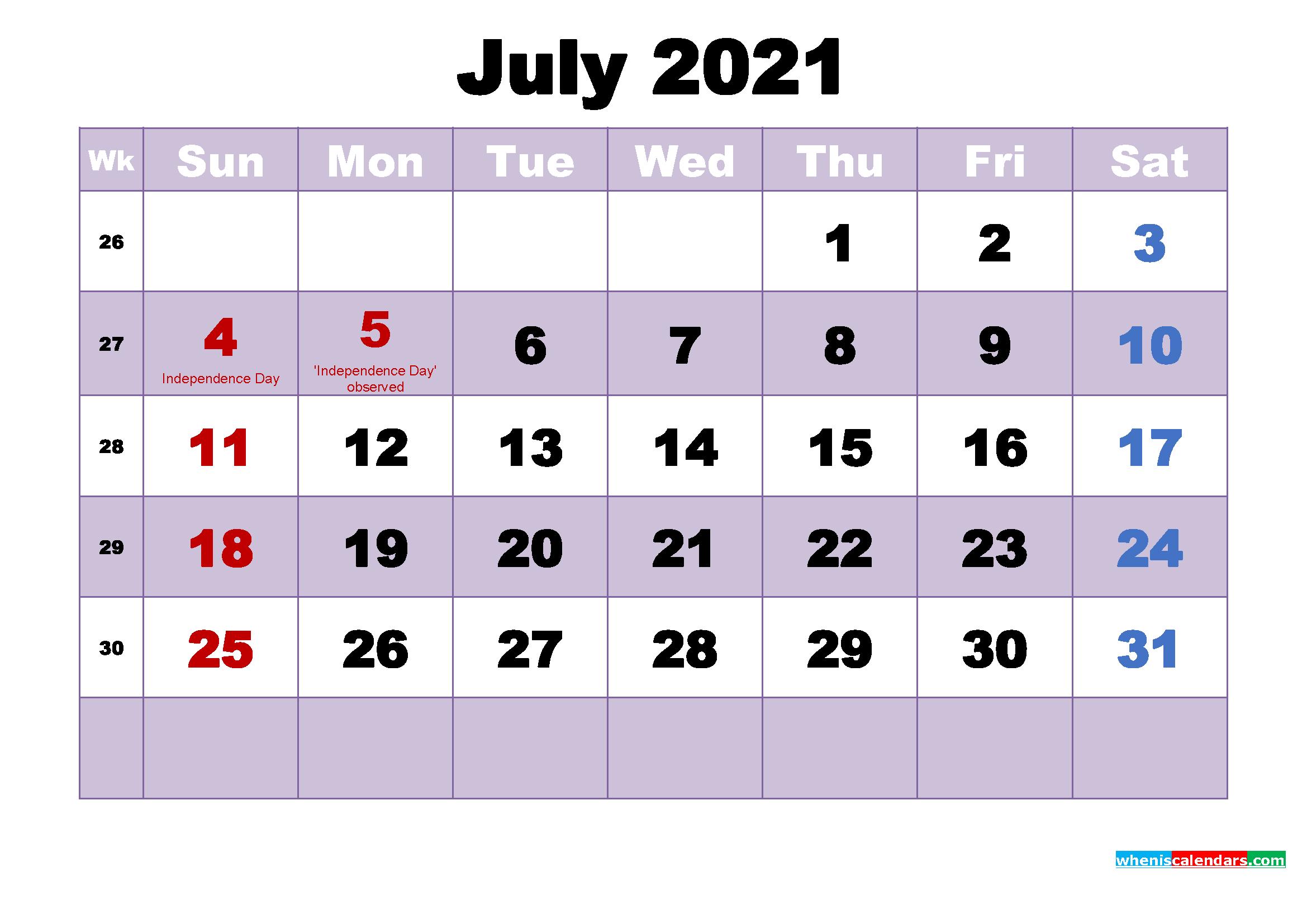 Free Printable July 2021 Calendar Word