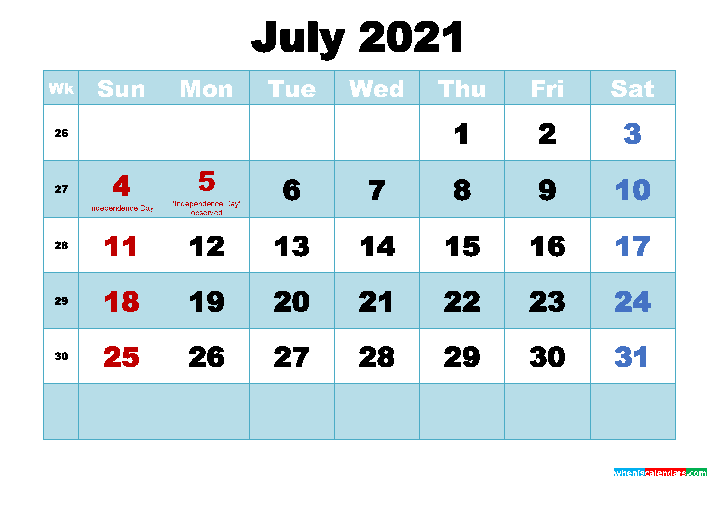 Free Printable July 2021 Calendar with Holidays as Word ...