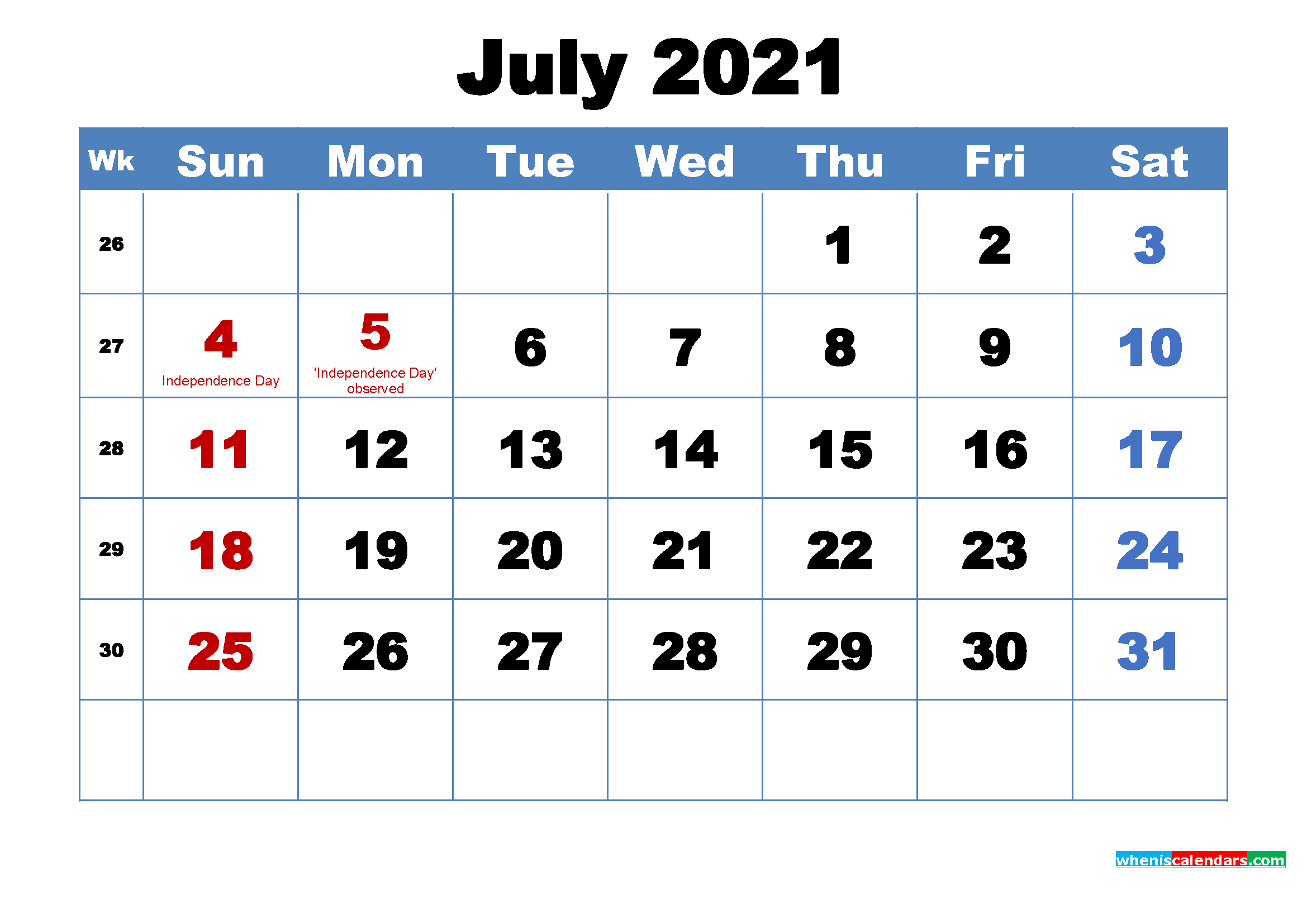 Printable 2021 Calendar by Month July