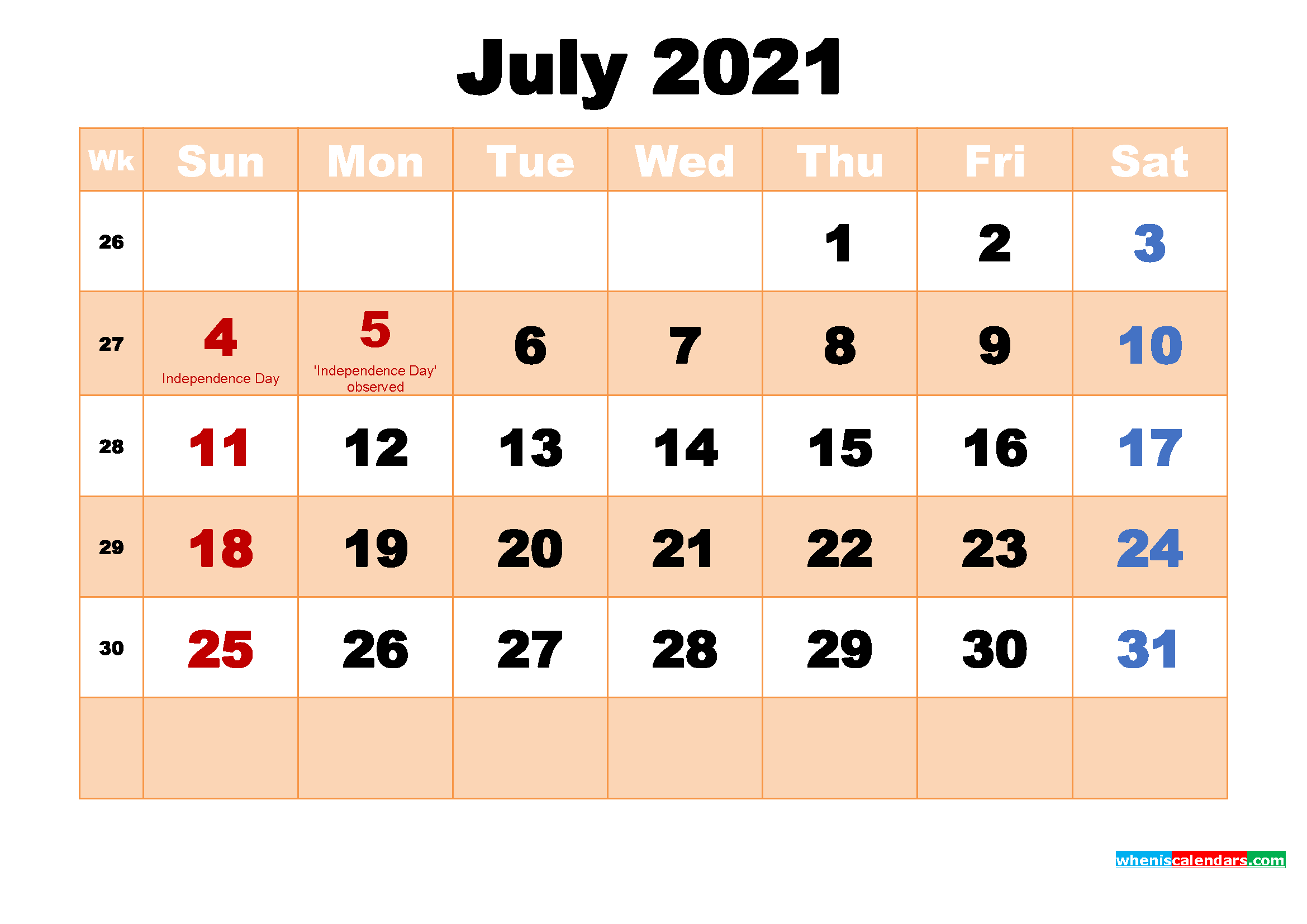 Free Printable 2021 Monthly Calendar with Holidays July