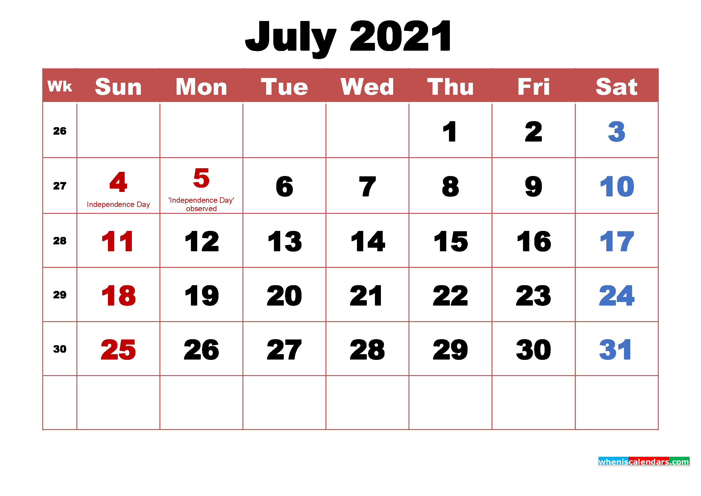 July 2021 Calendar Wallpaper High Resolution