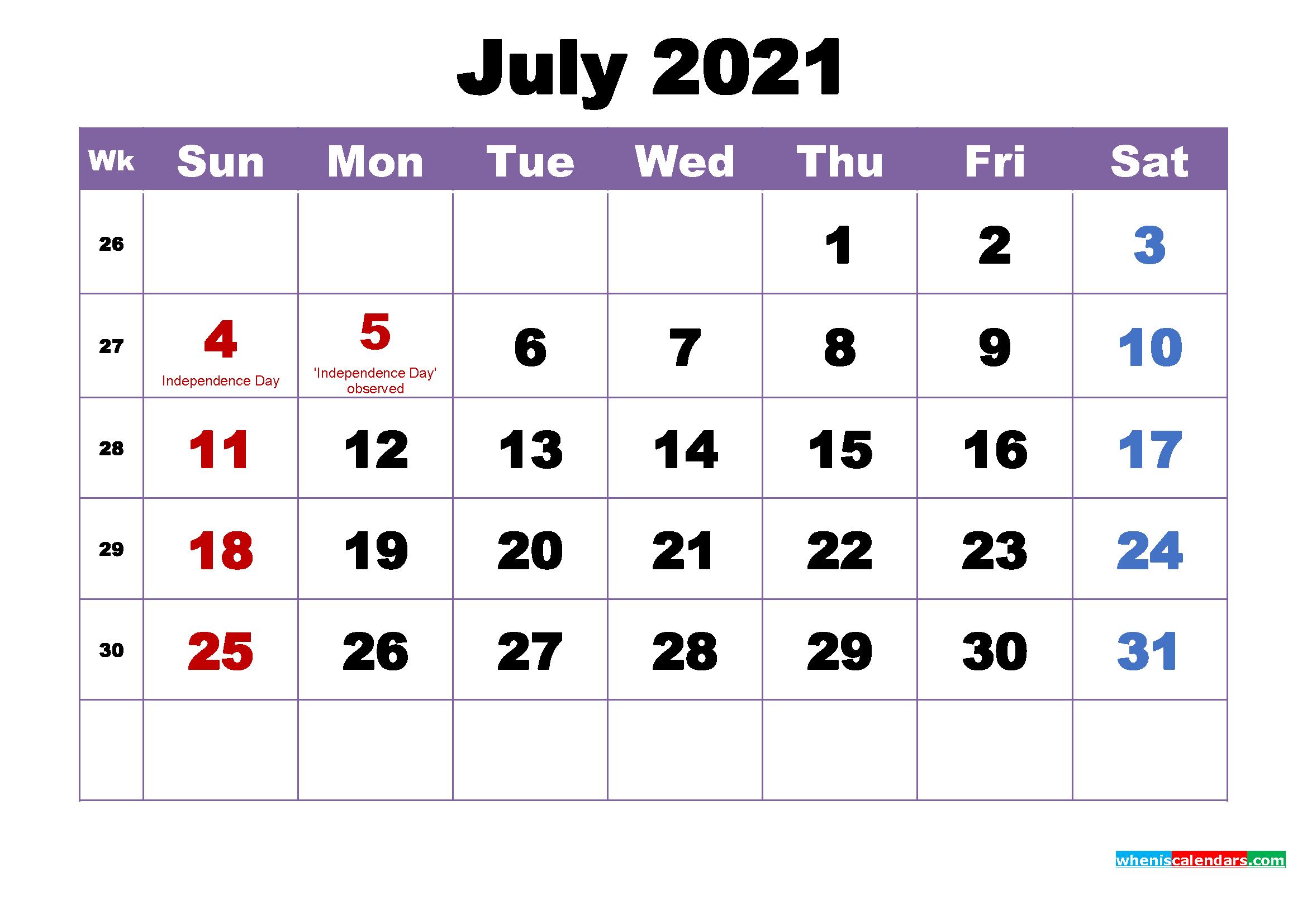 Free Printable July 2021 Calendar Wallpaper