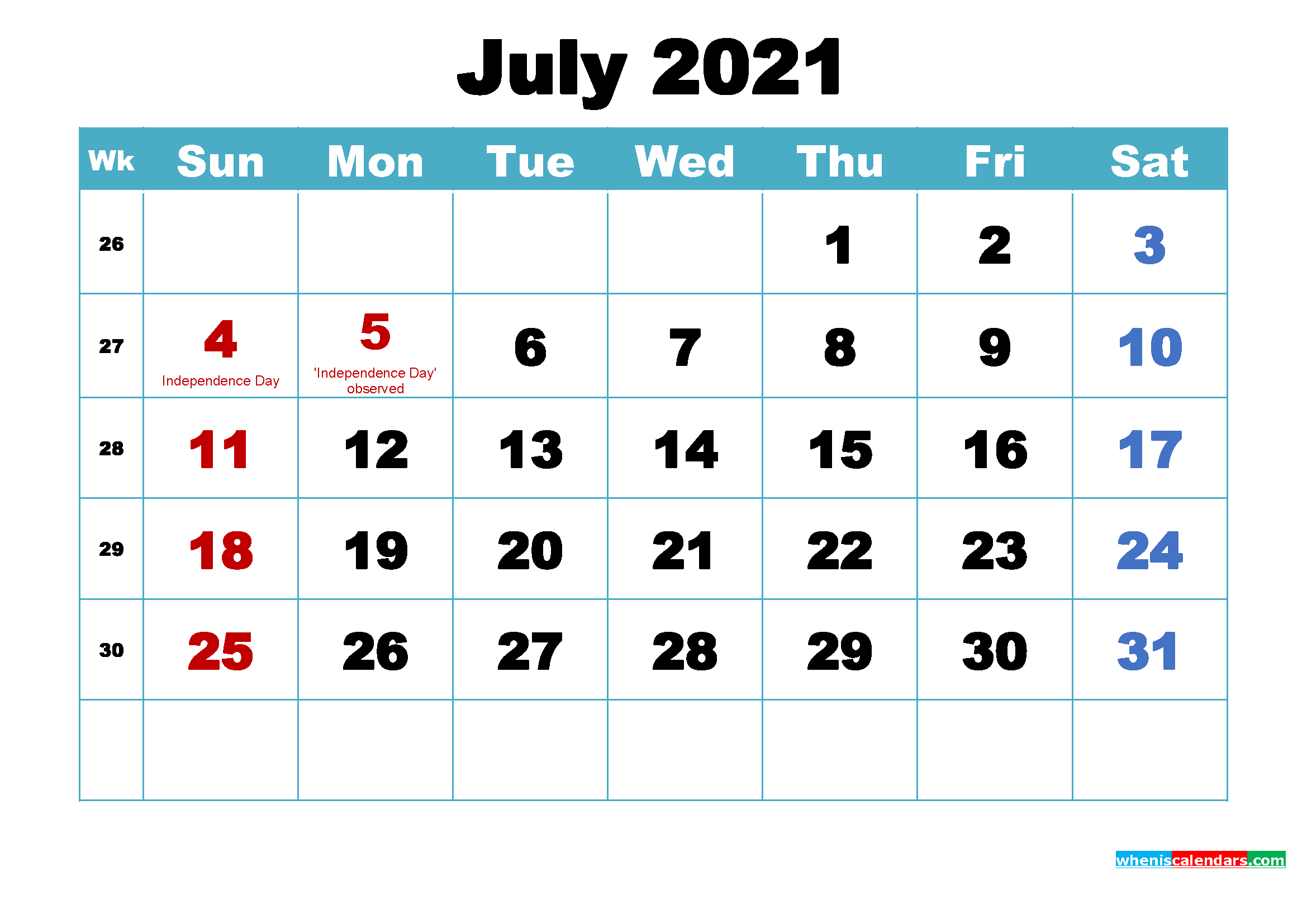 Free Printable 2021 Calendar July as Word, PDF | Free ...