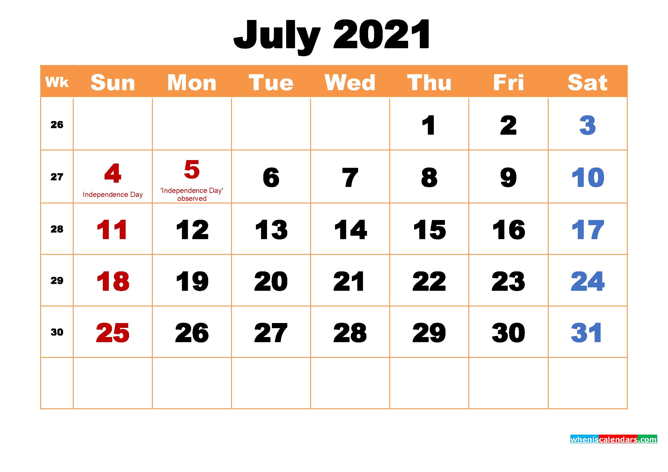 July 2021 Calendar Wallpaper High Resolution