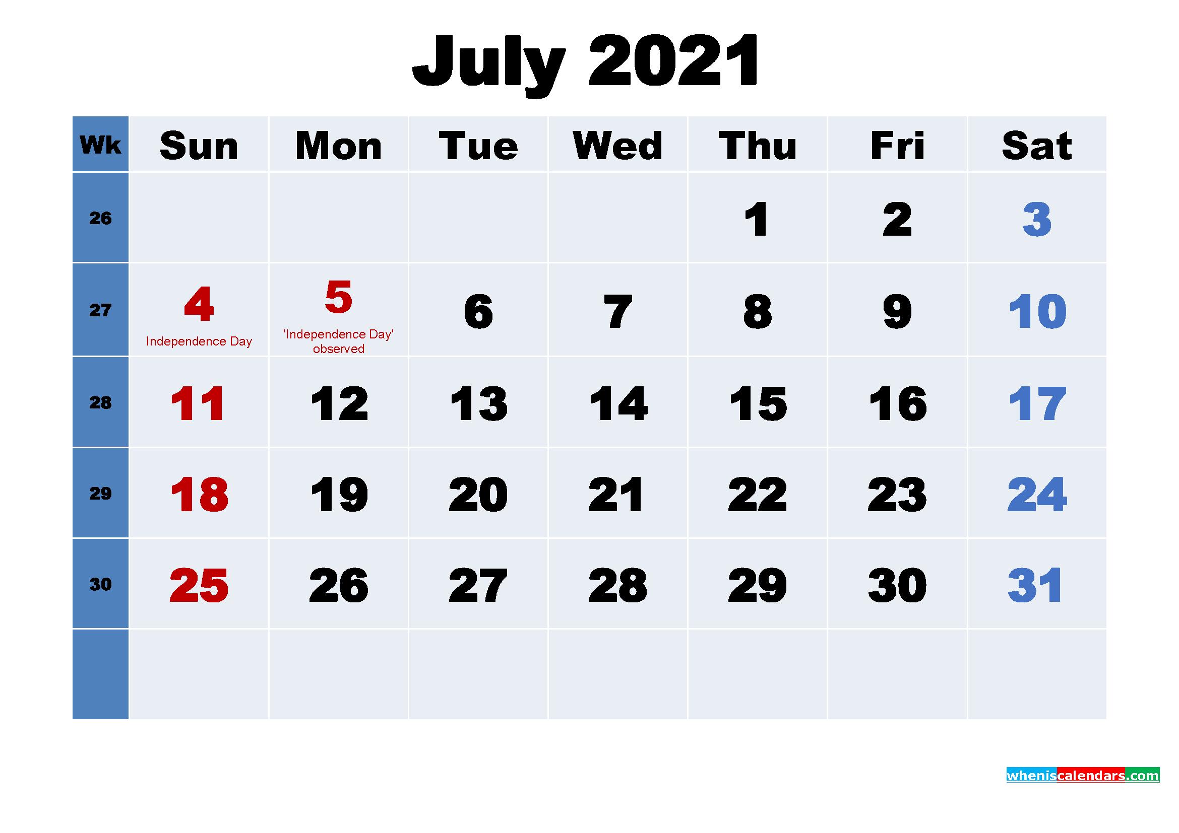 July 2021 Desktop Calendar with Holidays
