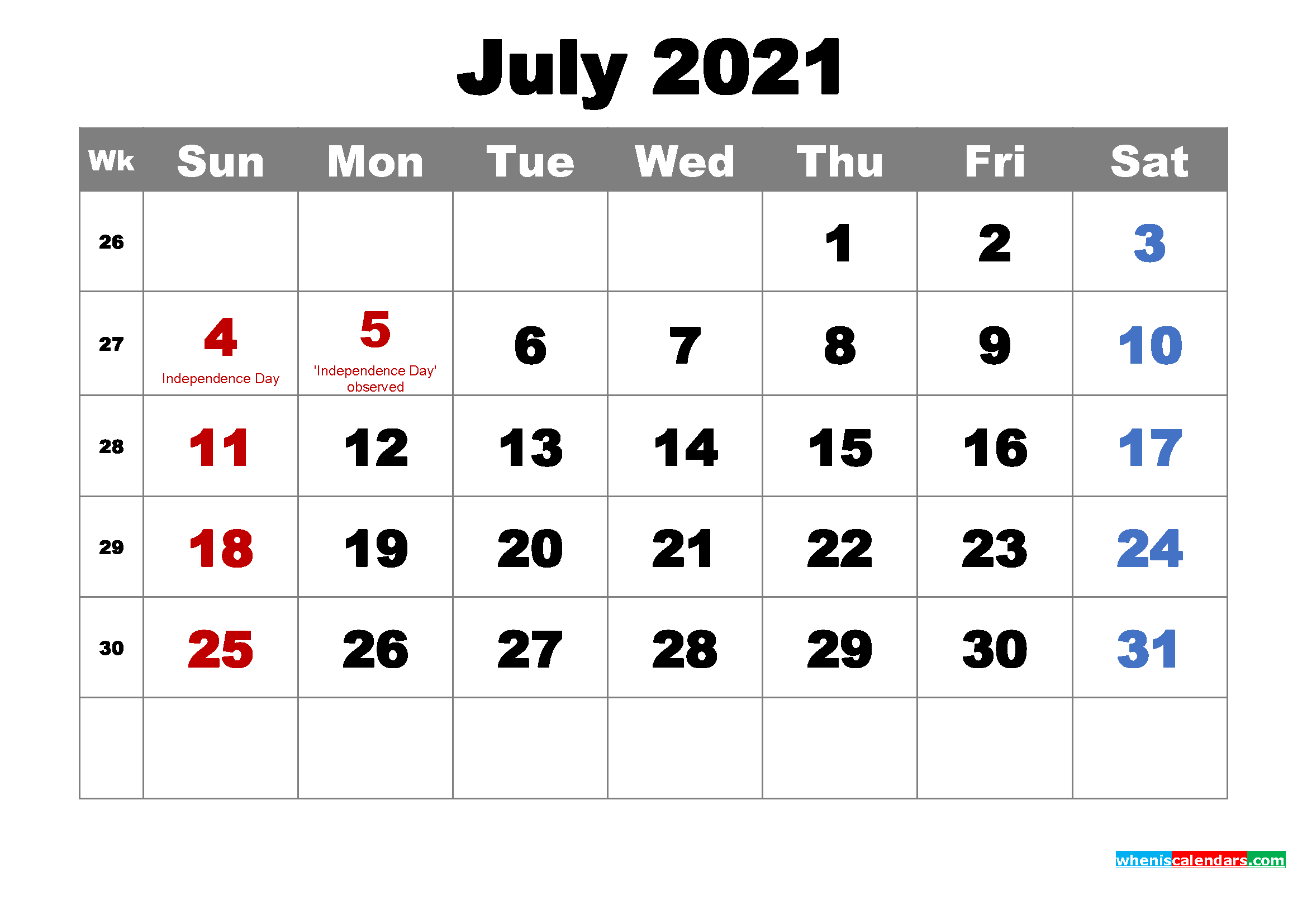 Printable July 2021 Calendar by Month