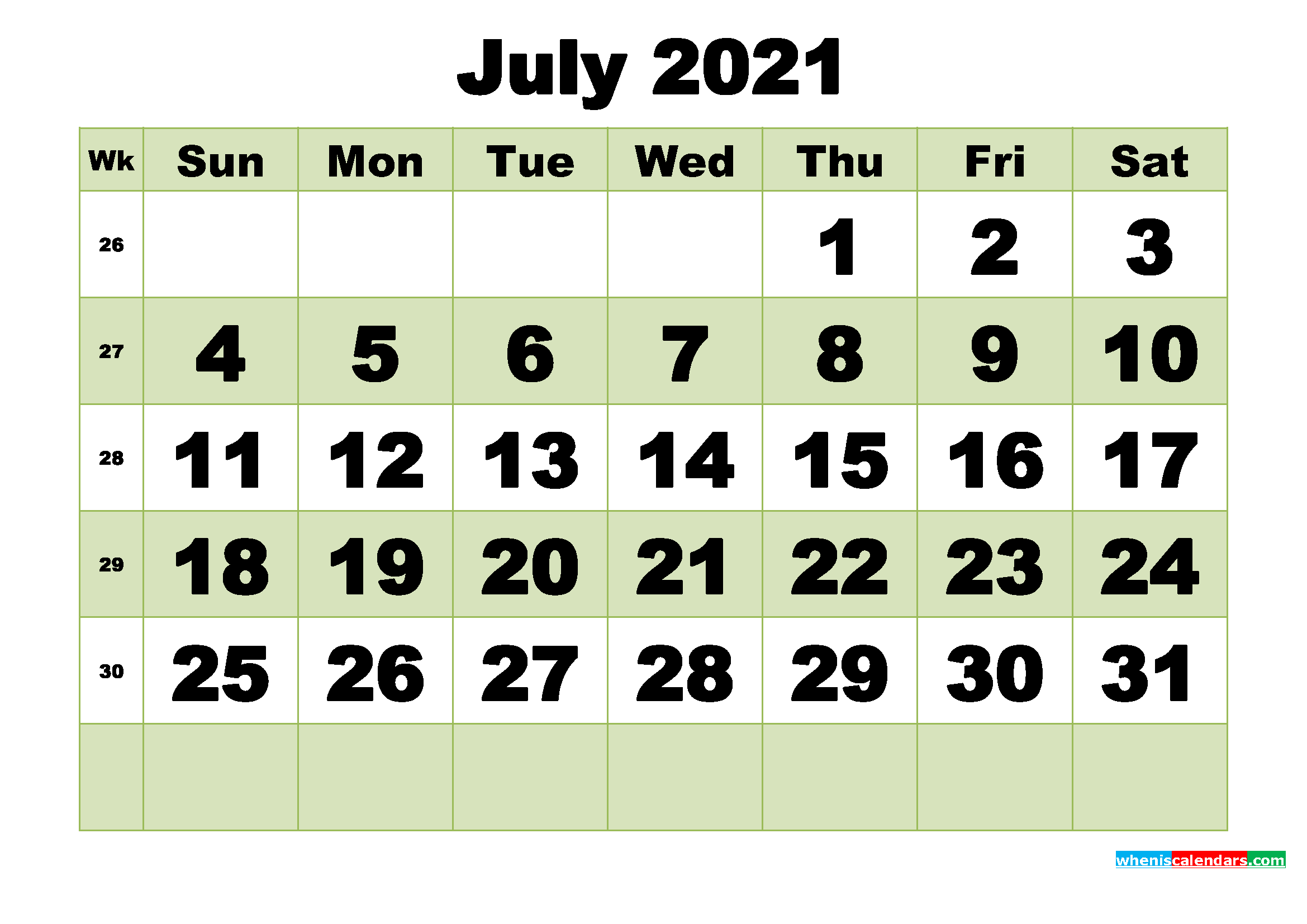 July 2021 Printable Calendar Template