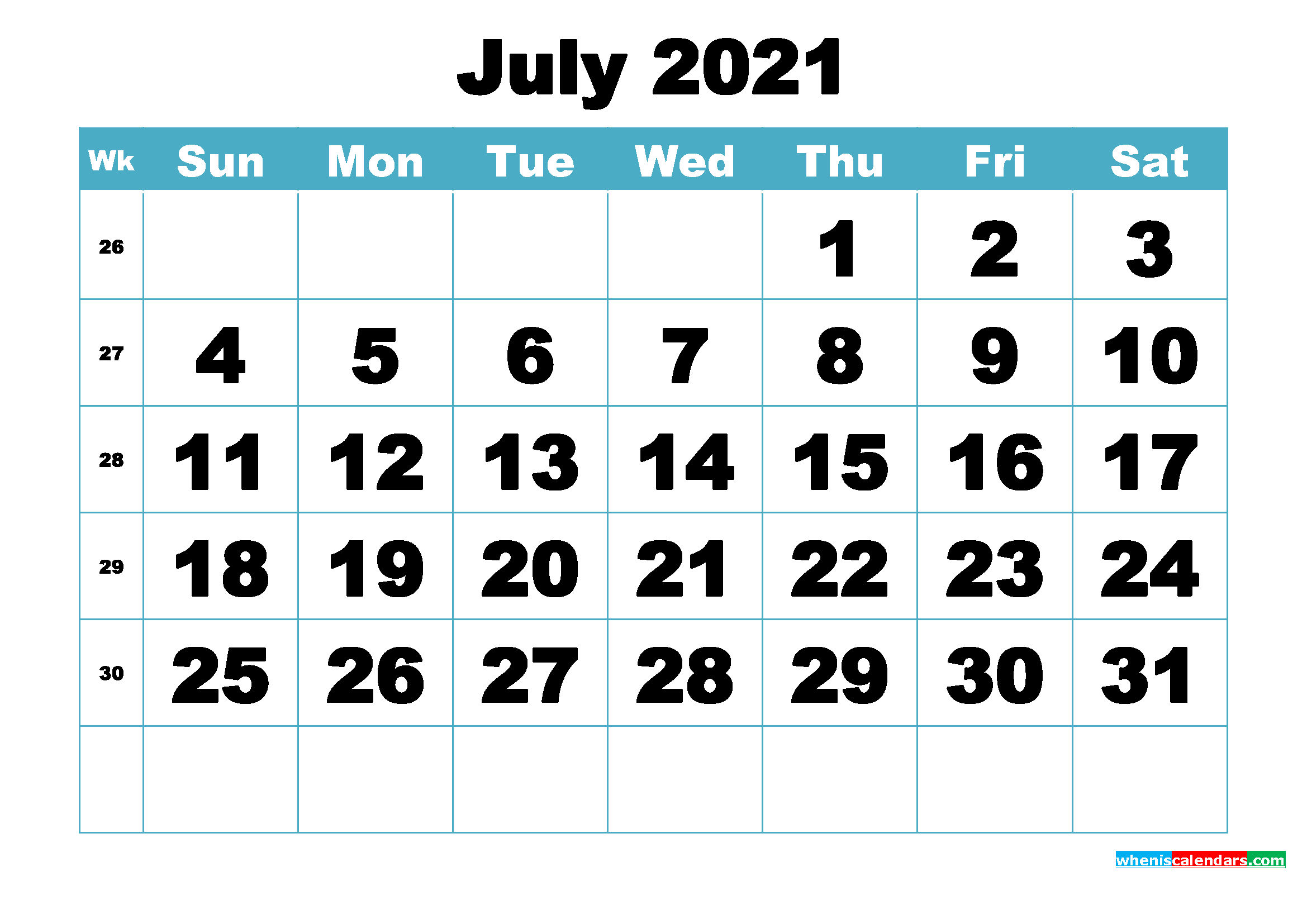 Free July 2021 Printable Monthly Calendar Template