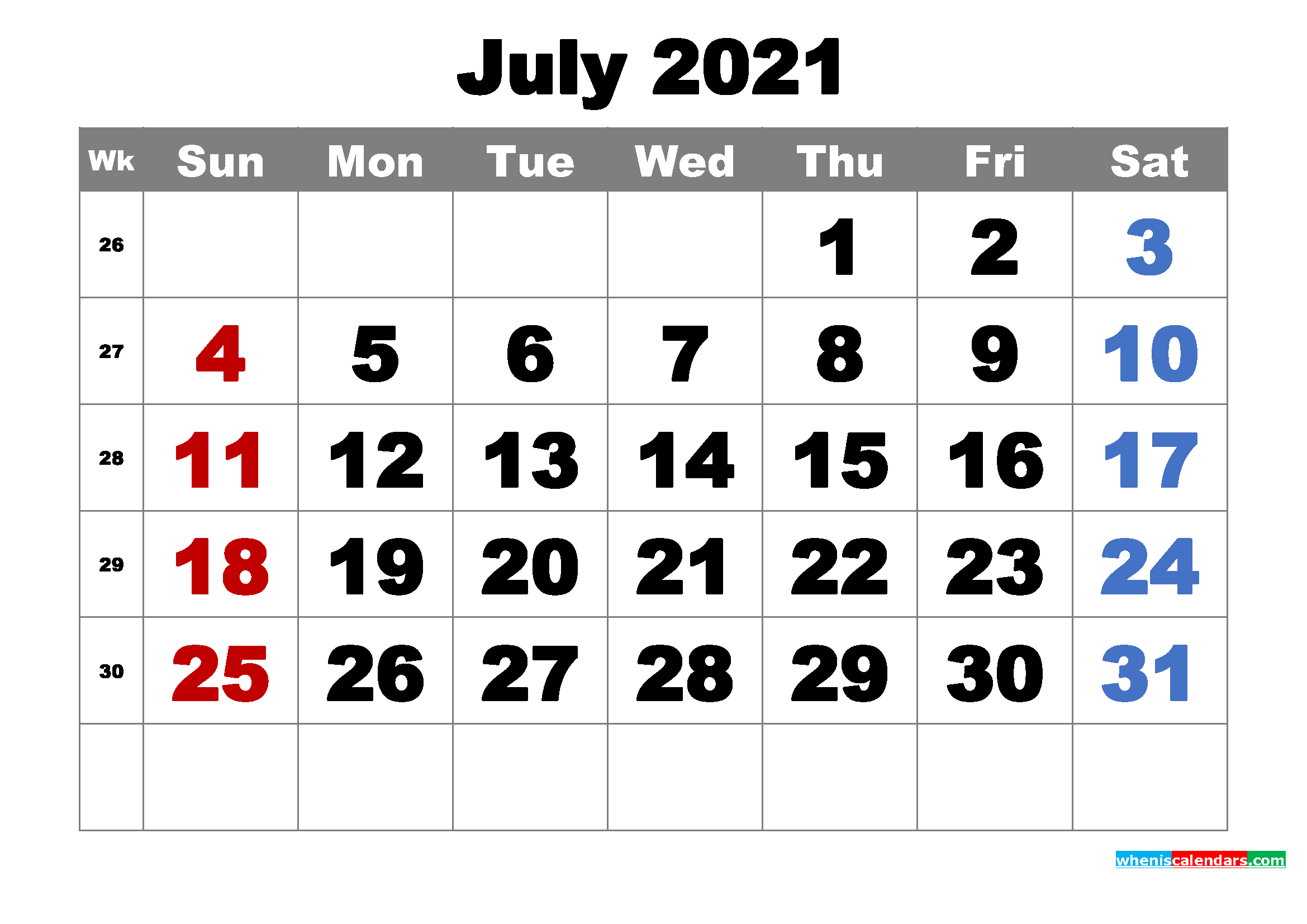 July 2021 Calendar Word Free Printable July 2021 Calendar Word, PDF, Image