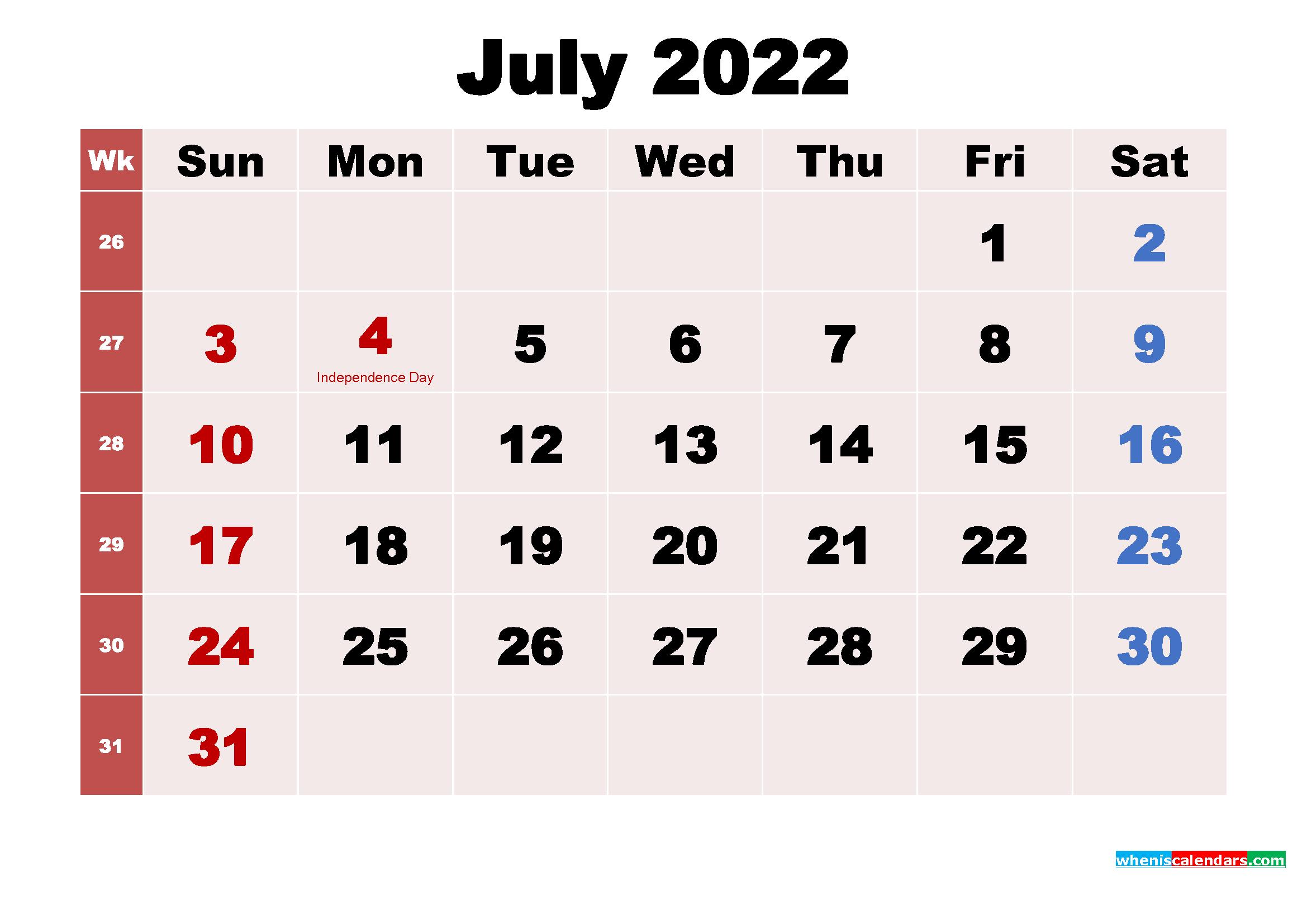 July 2022 Calendar Wallpaper Free Download