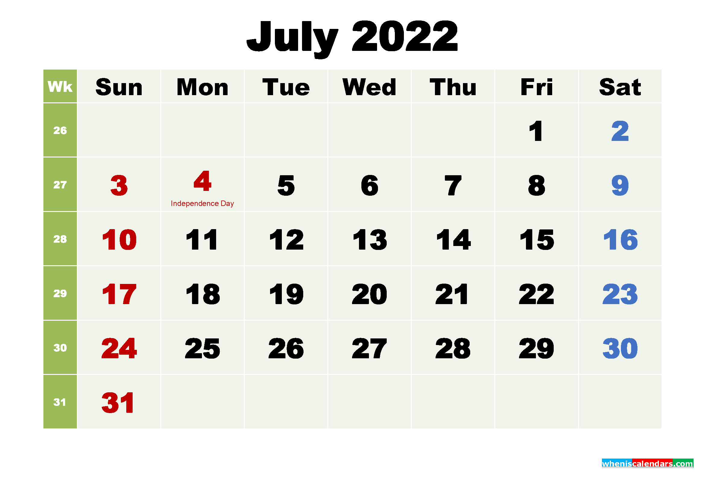 Printable July 2022 Calendar by Month