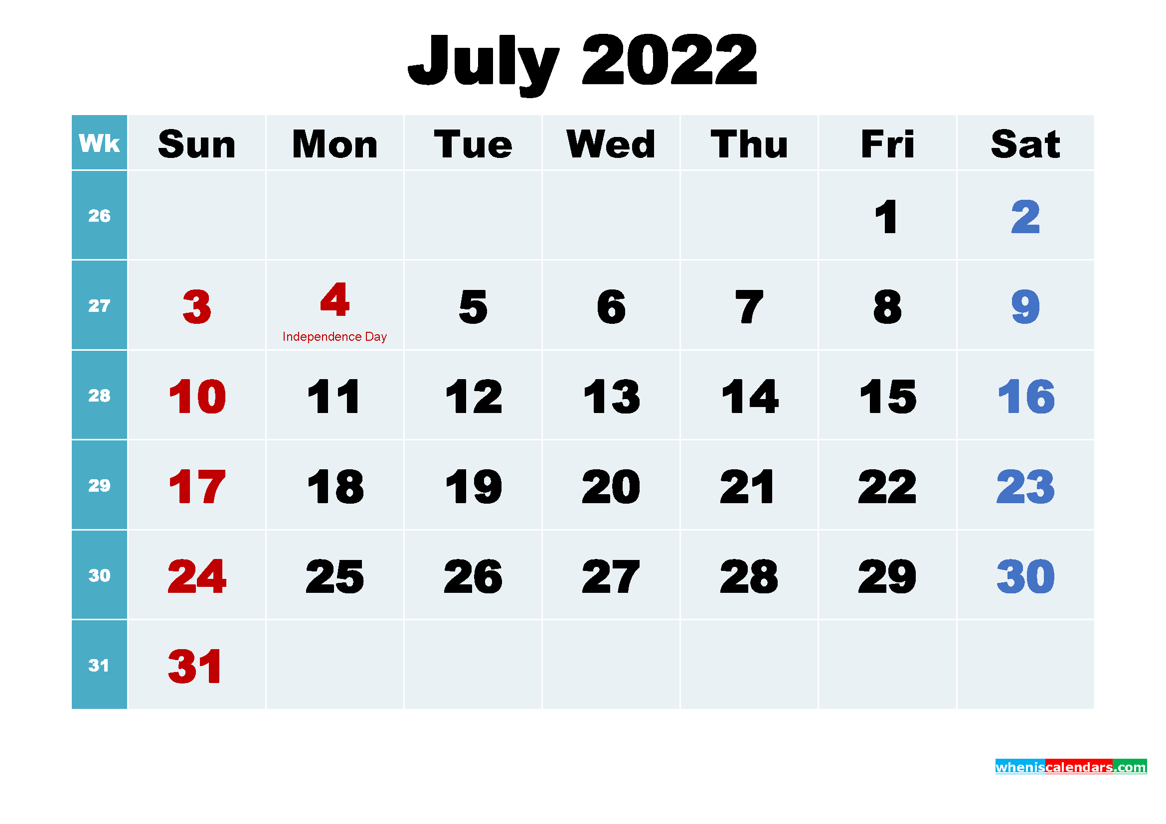 Free Printable July 2022 Calendar Wallpaper