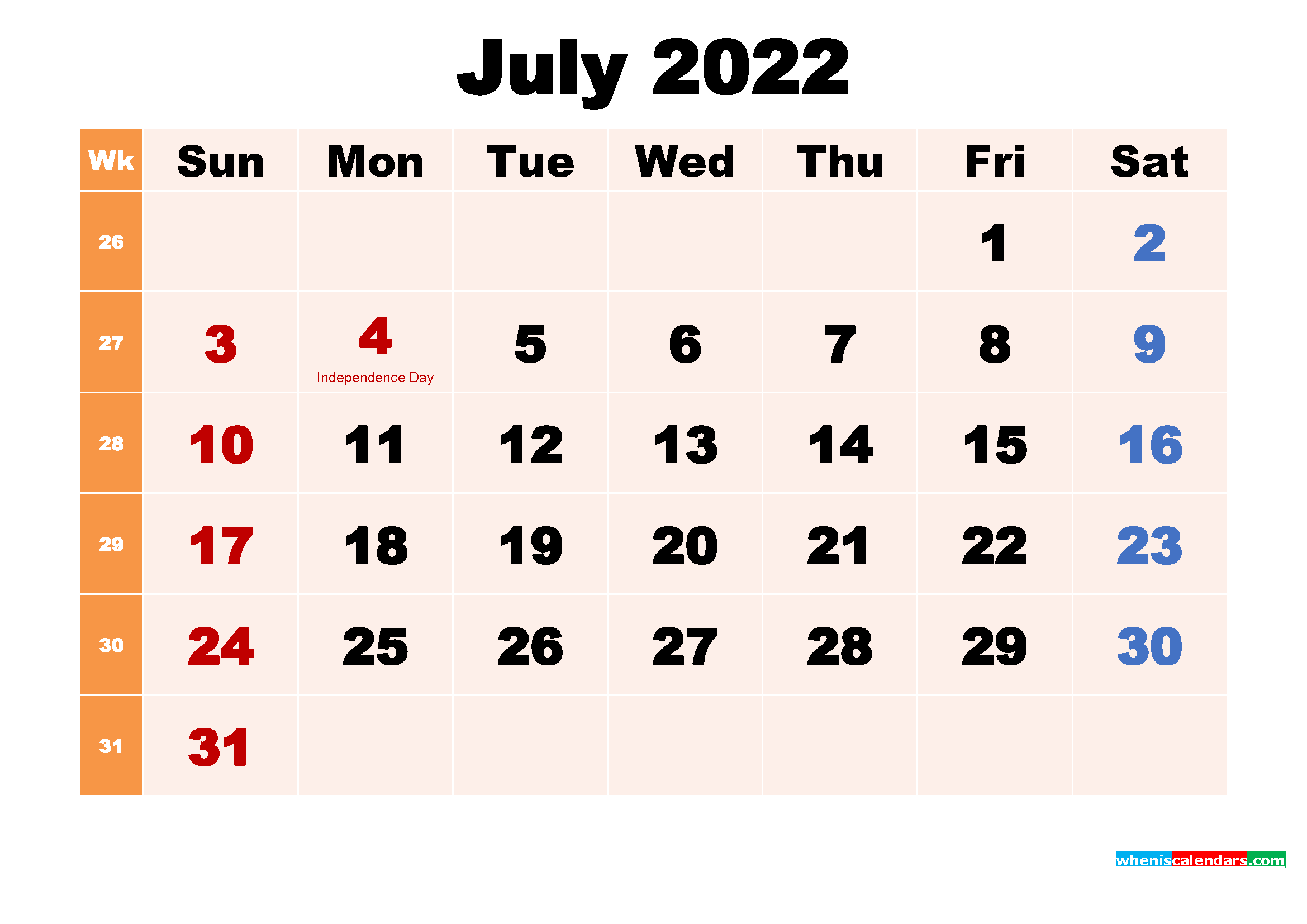 Free Printable 2022 Calendar with Holidays July