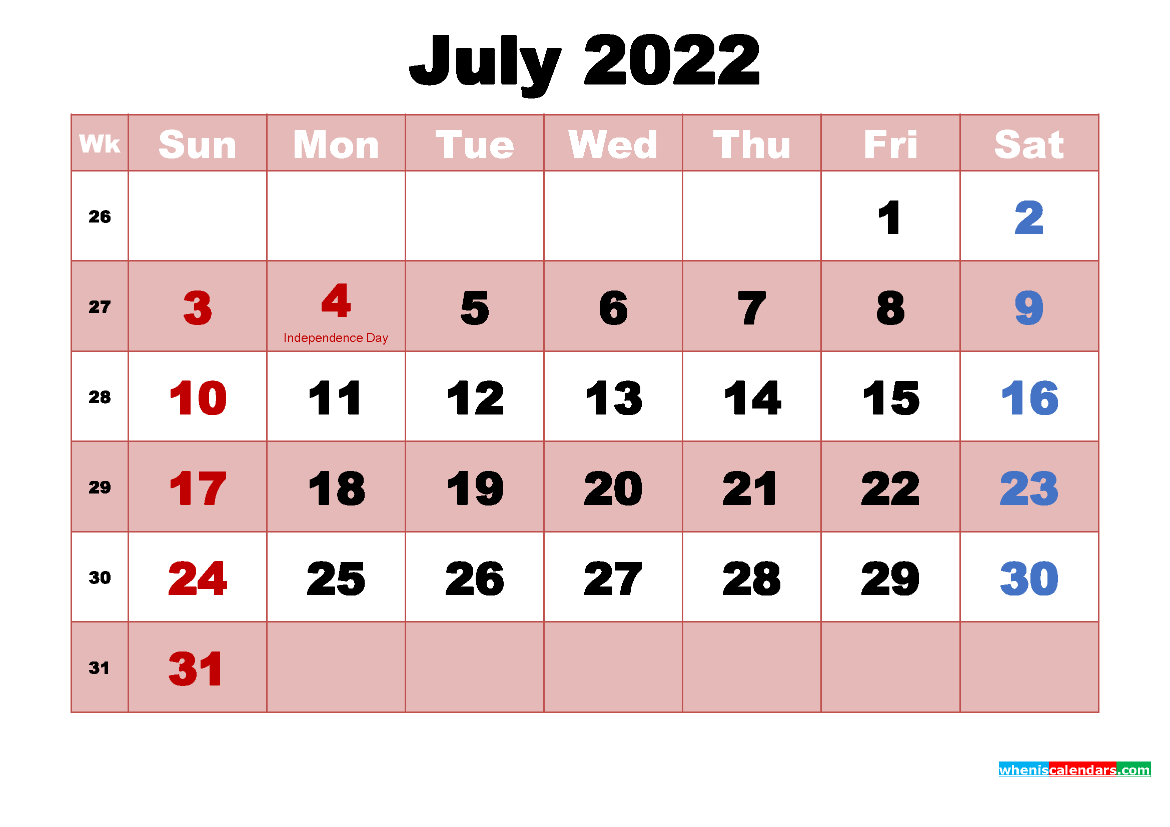 Printable July 2022 Calendar Word