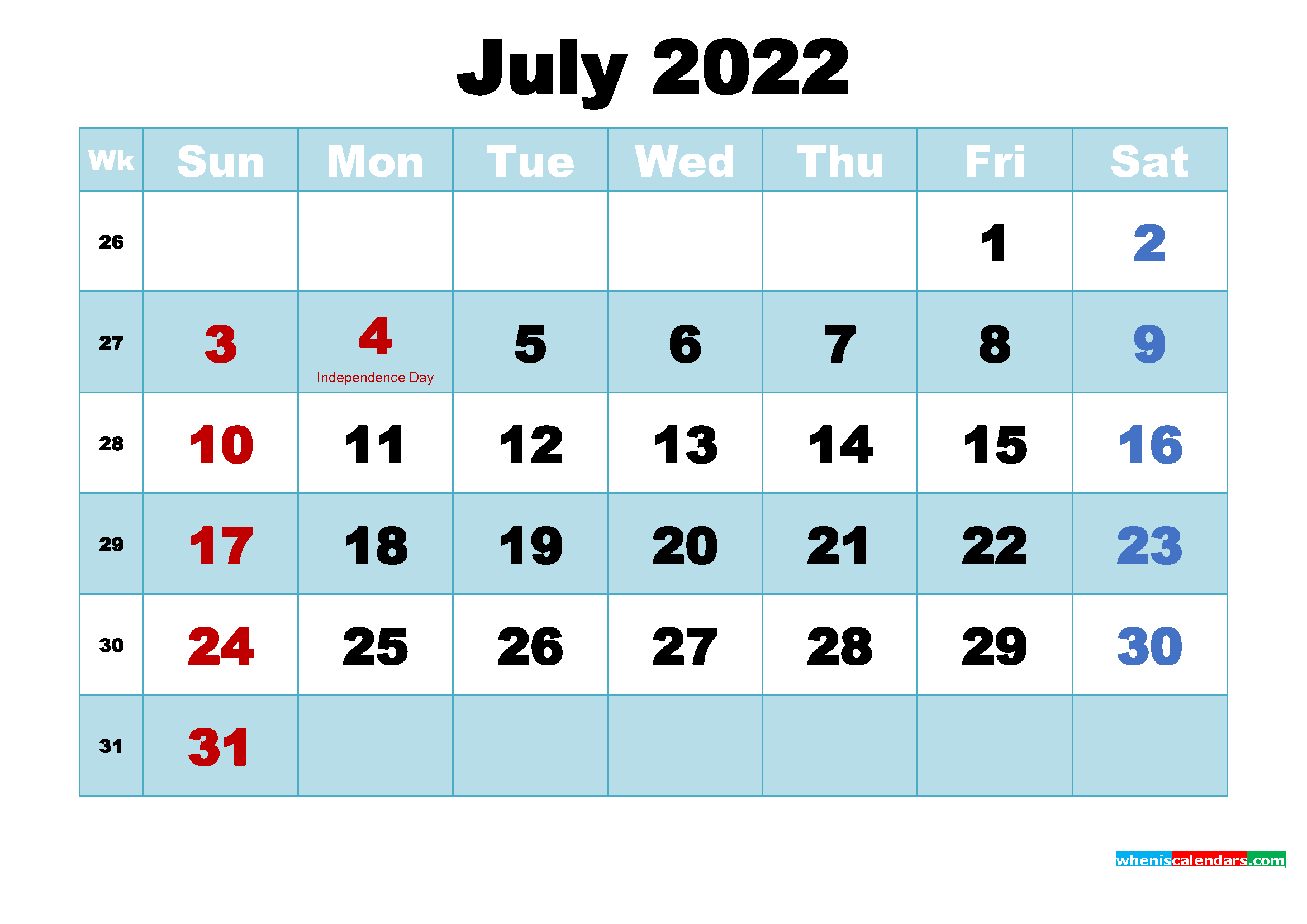 July 2022 Free Printable Calendar with Holidays