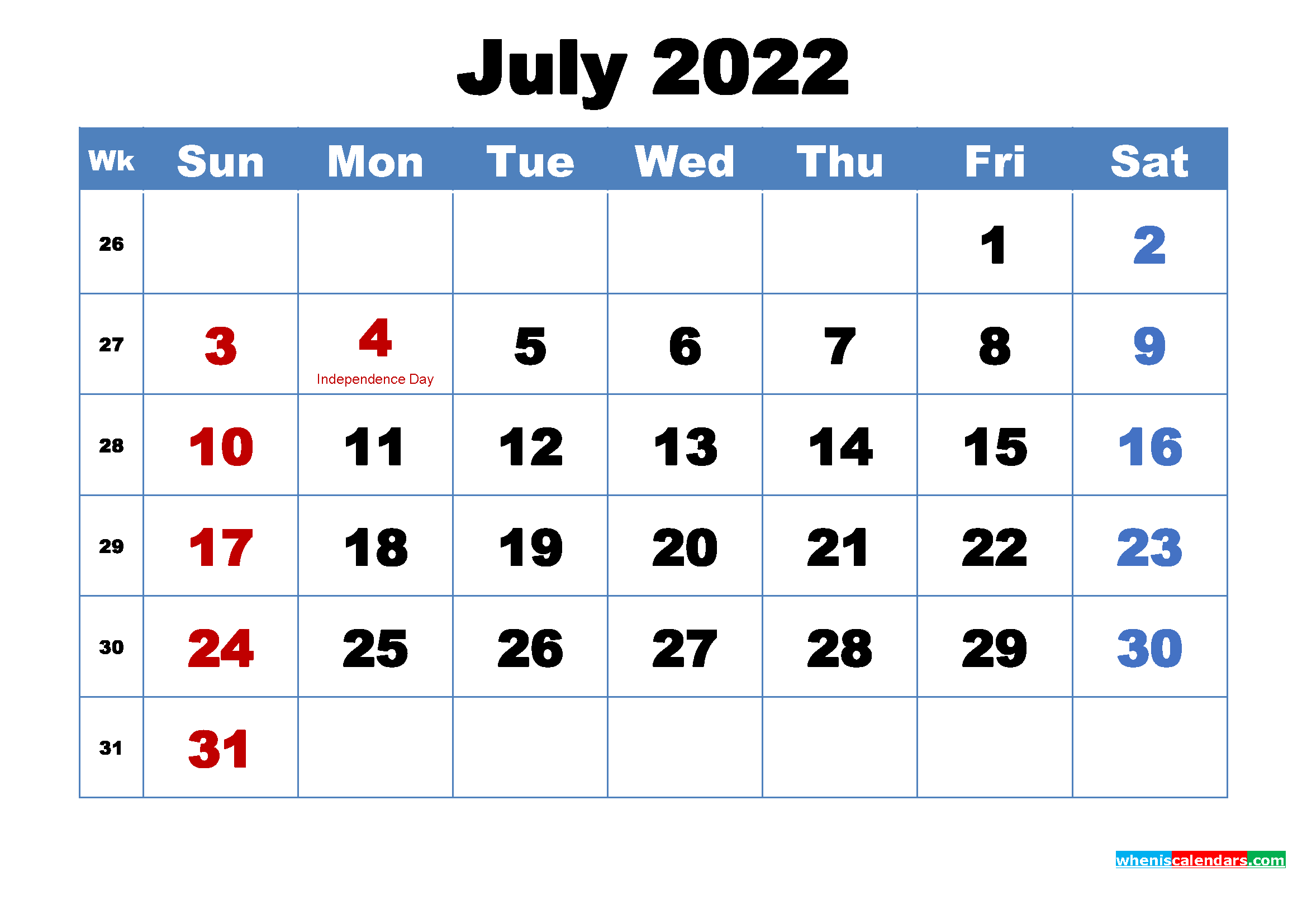 Printable 2022 Calendar by Month July