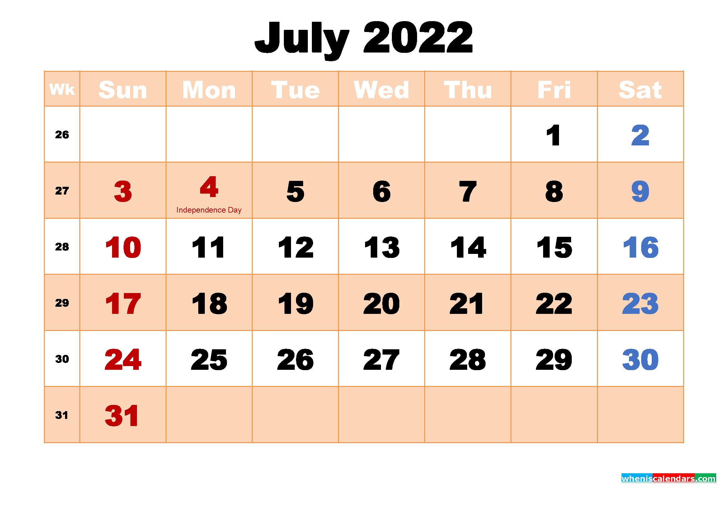 July 2022 Desktop Calendar Monthly