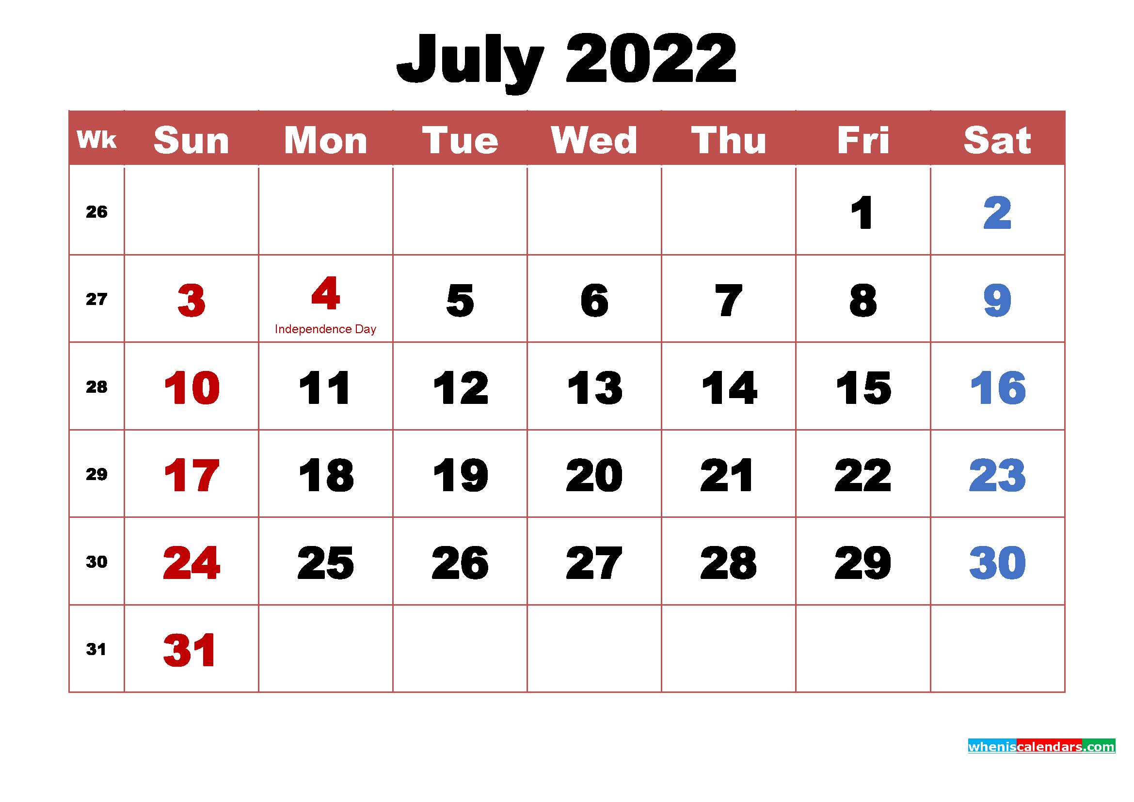 July 2022 Desktop Calendar High Resolution