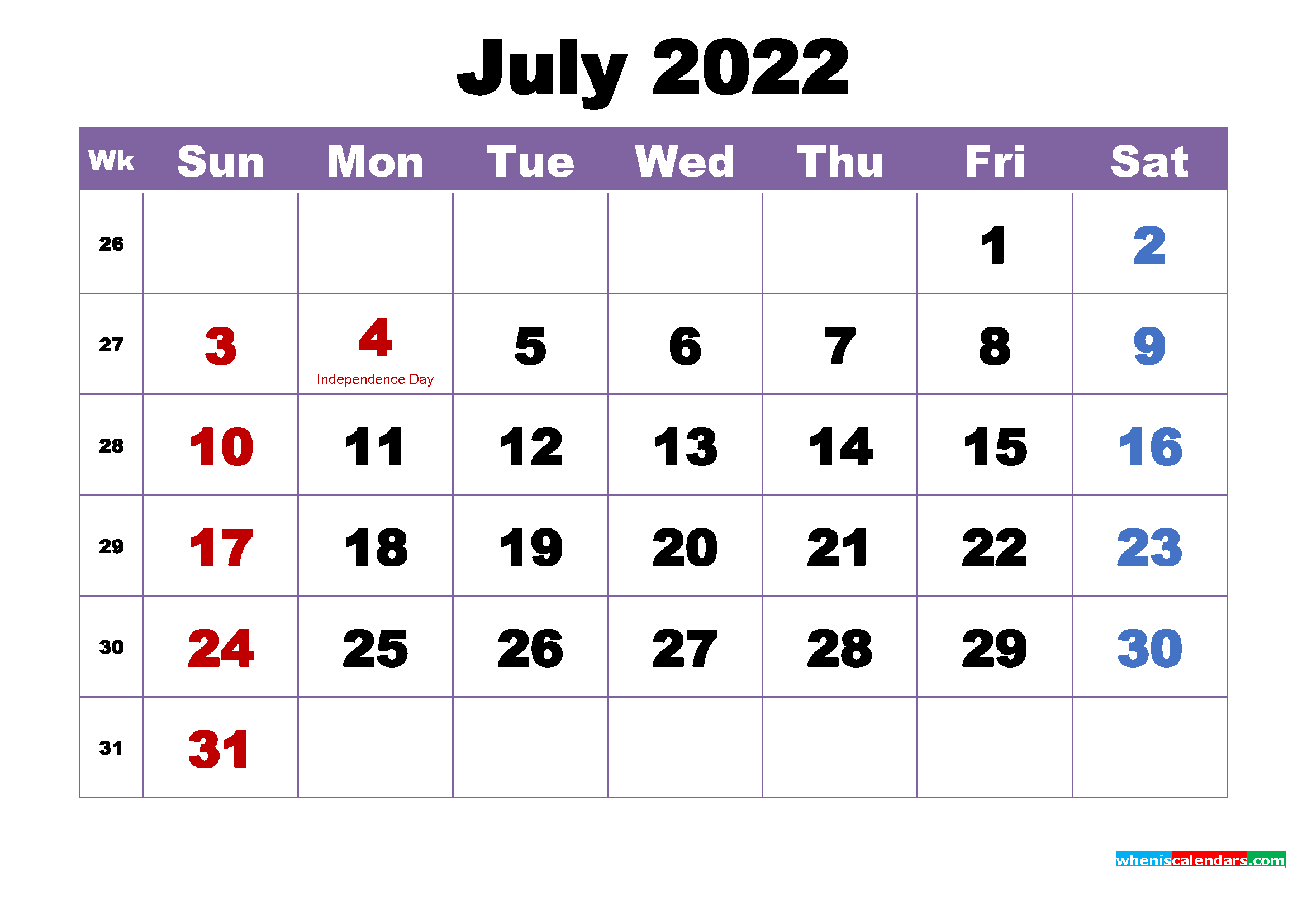 Free Printable 2022 Monthly Calendar with Holidays July