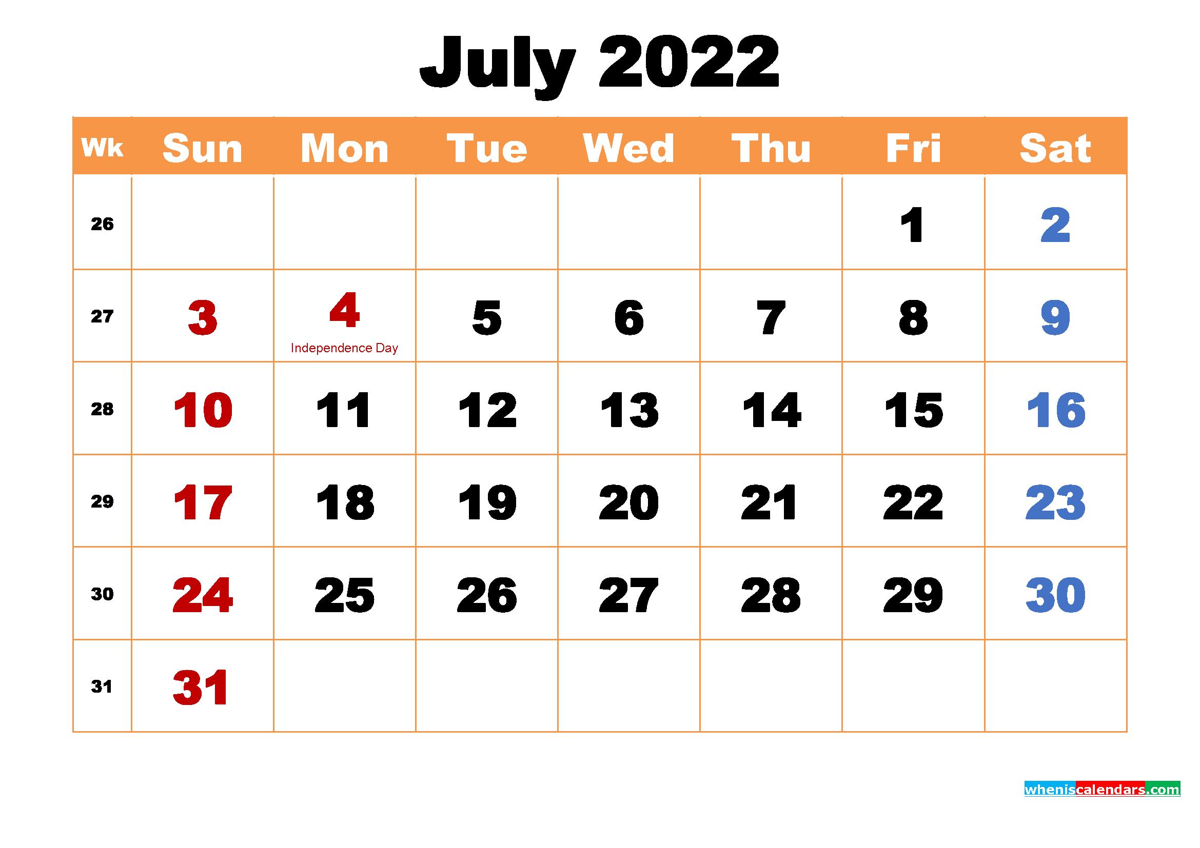 July 2022 Calendar Wallpaper High Resolution