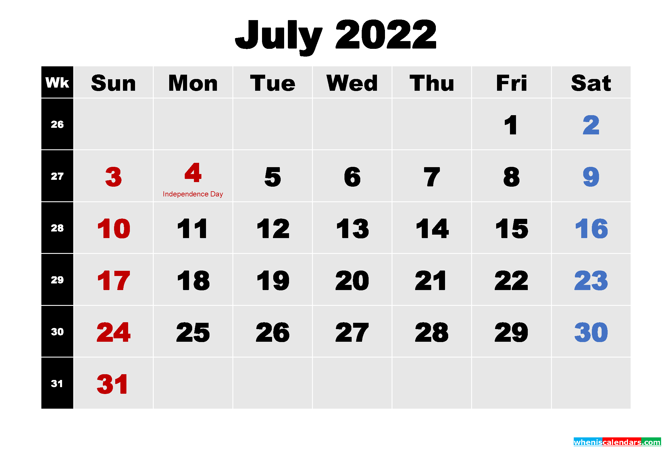 Printable 2022 Calendar with Holidays July