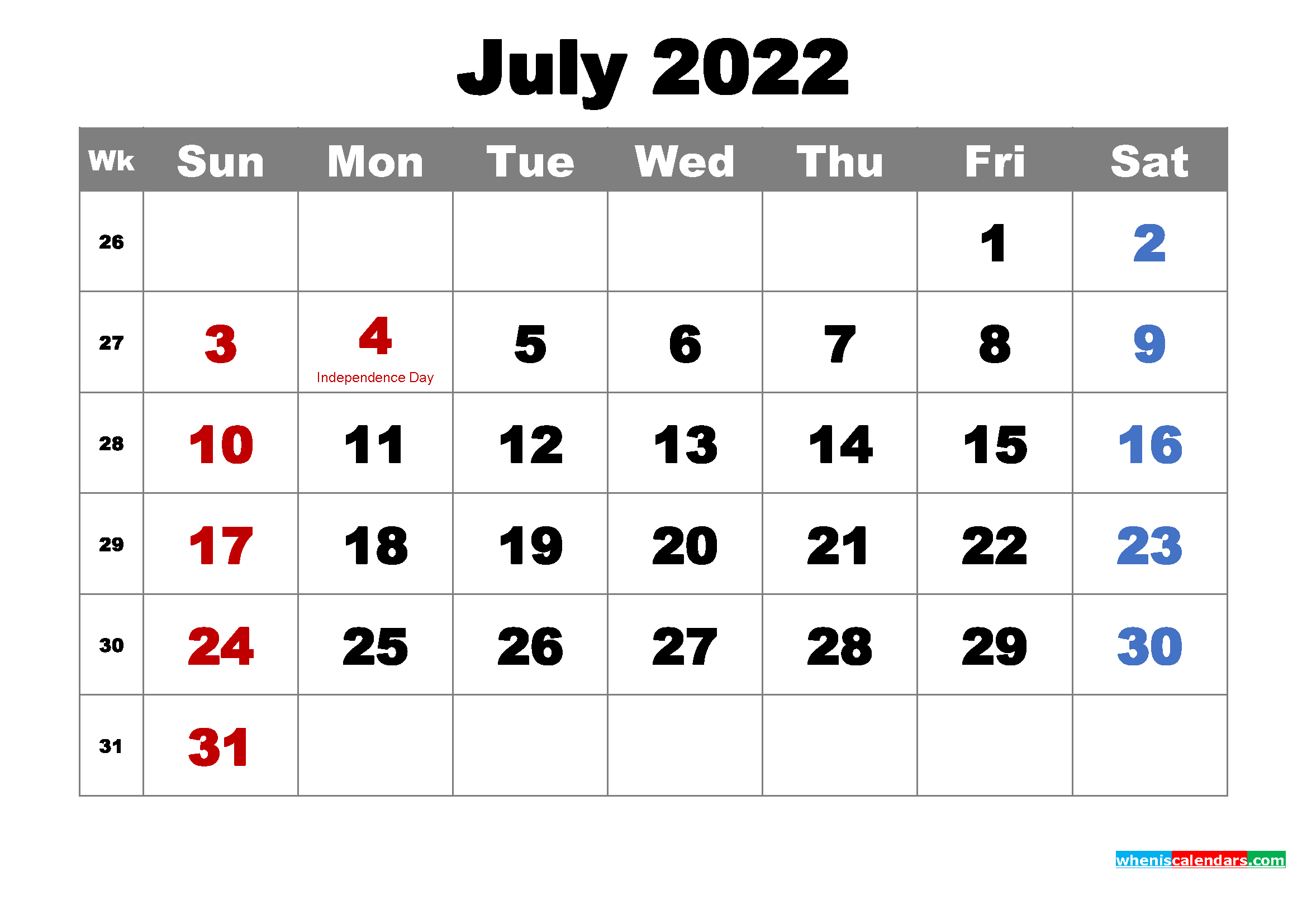 Free Printable July 2022 Calendar Wallpaper