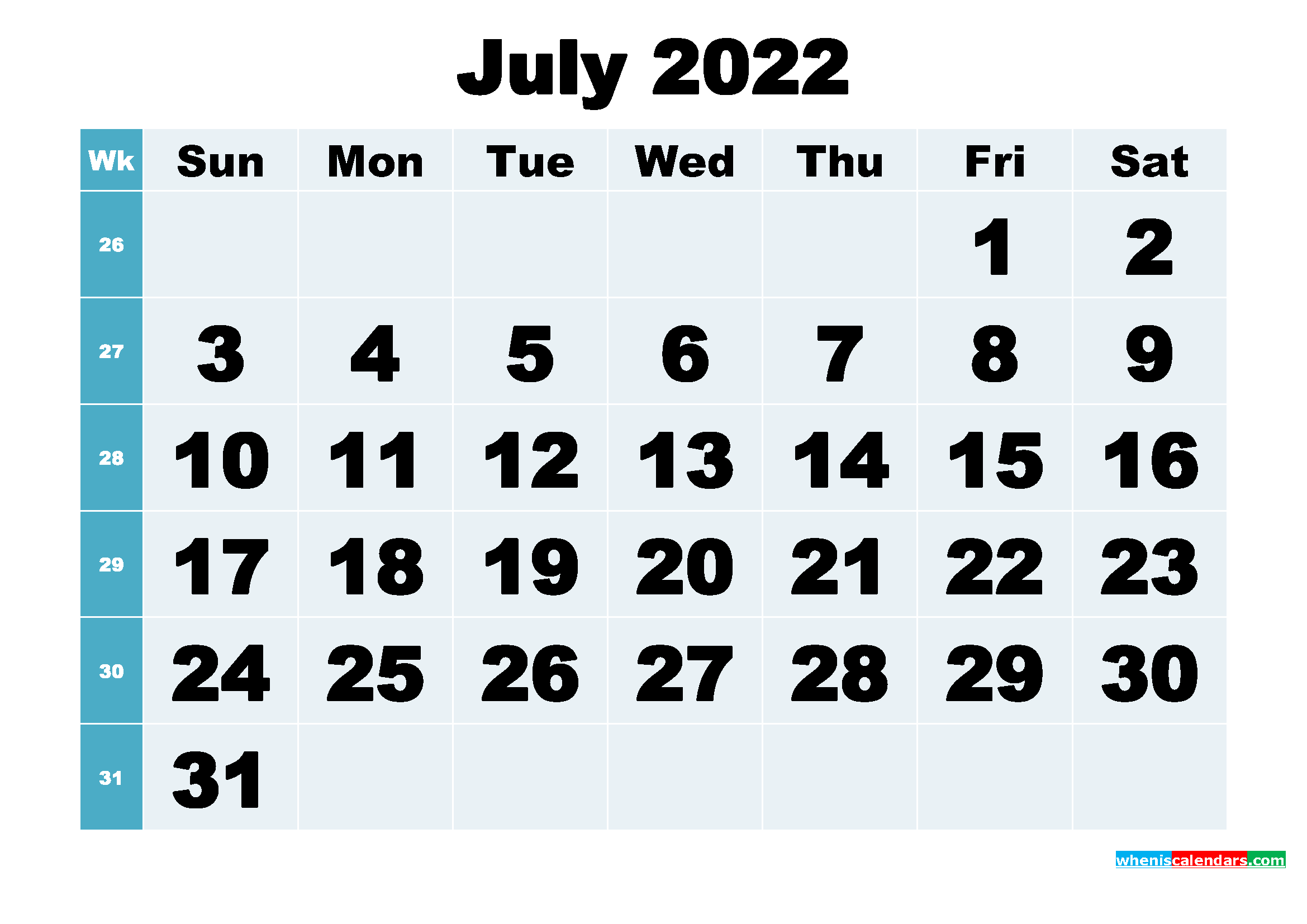 Free Printable July 2022 Calendar Word, PDF, Image